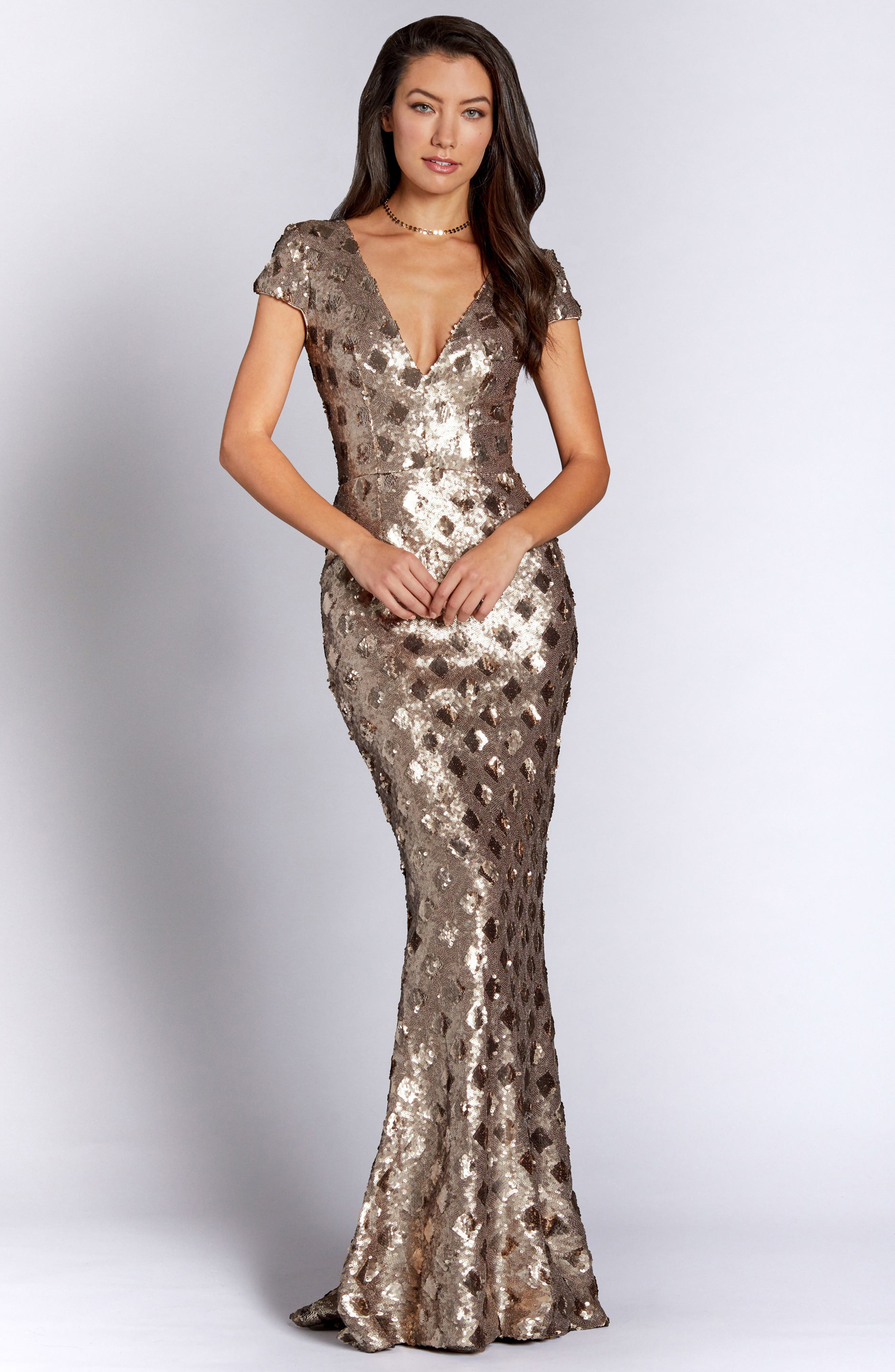 Lina Patterned Sequin Trumpet Gown,                             Alternate thumbnail 4, color,                             BRASS