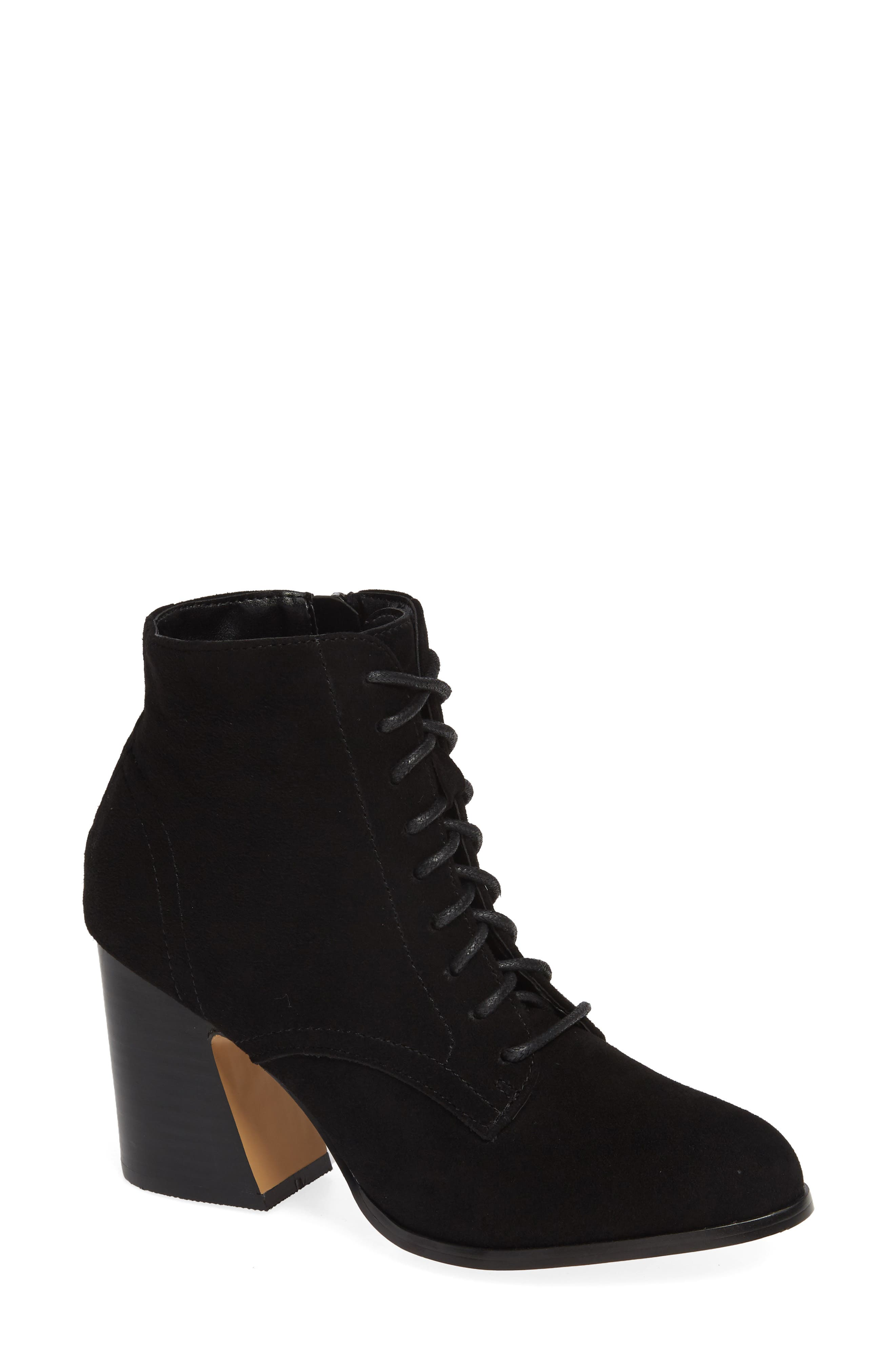 KENSIE Smith Lace-Up Bootie in Black Suede