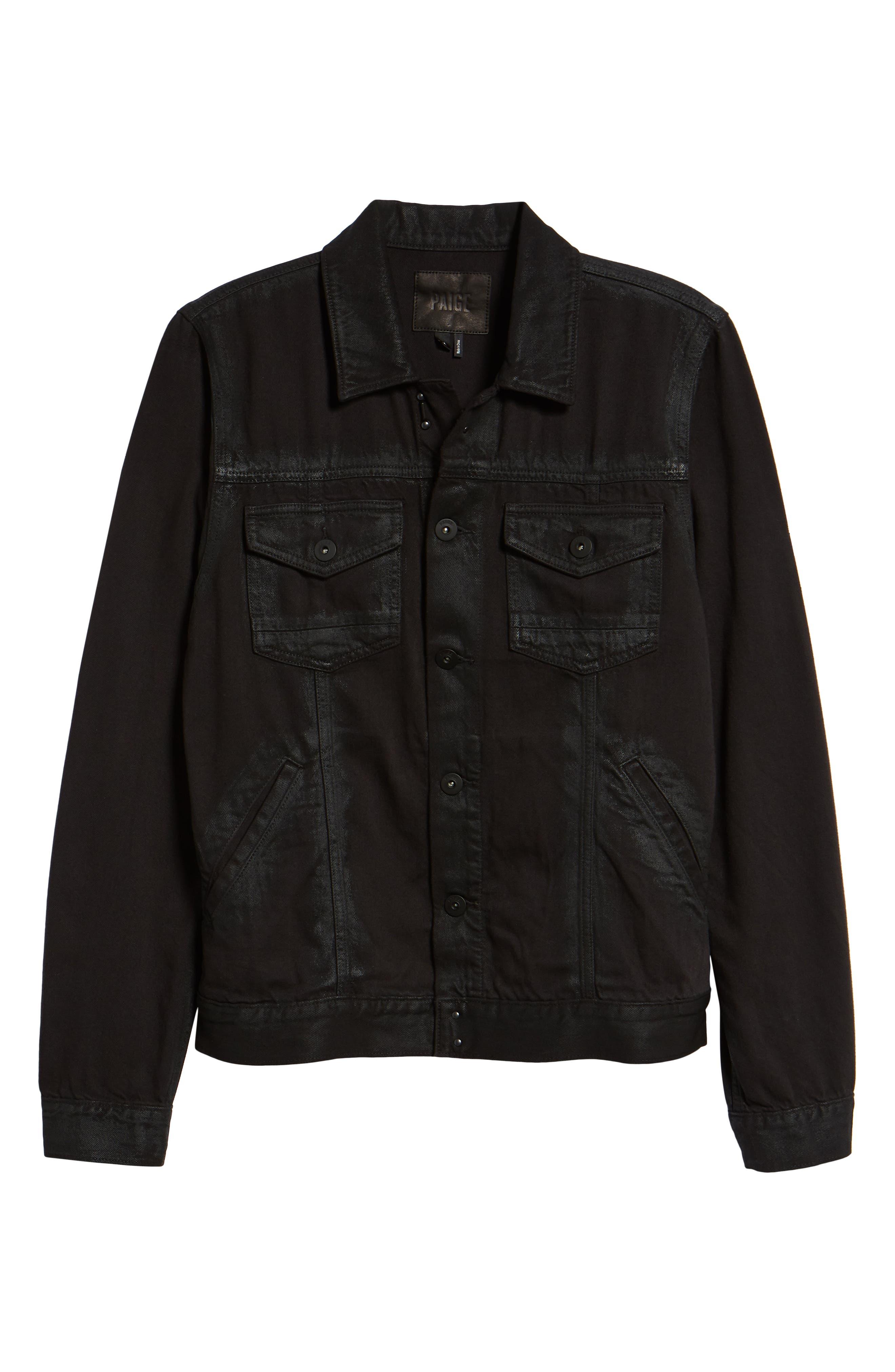 Scout Denim Jacket,                             Alternate thumbnail 6, color,                             VIVID BLACK COATED