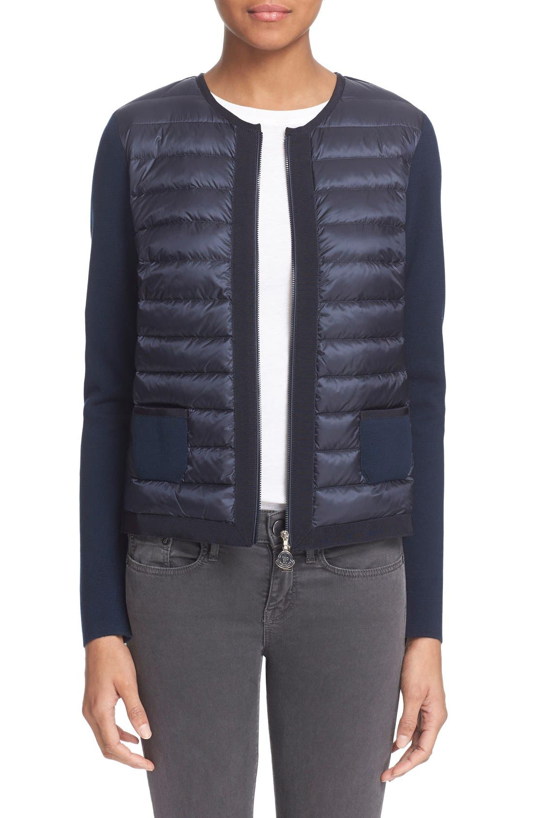 MONCLER 'Maglia' Quilted Down Front Tricot Cardigan, Main, color, 419