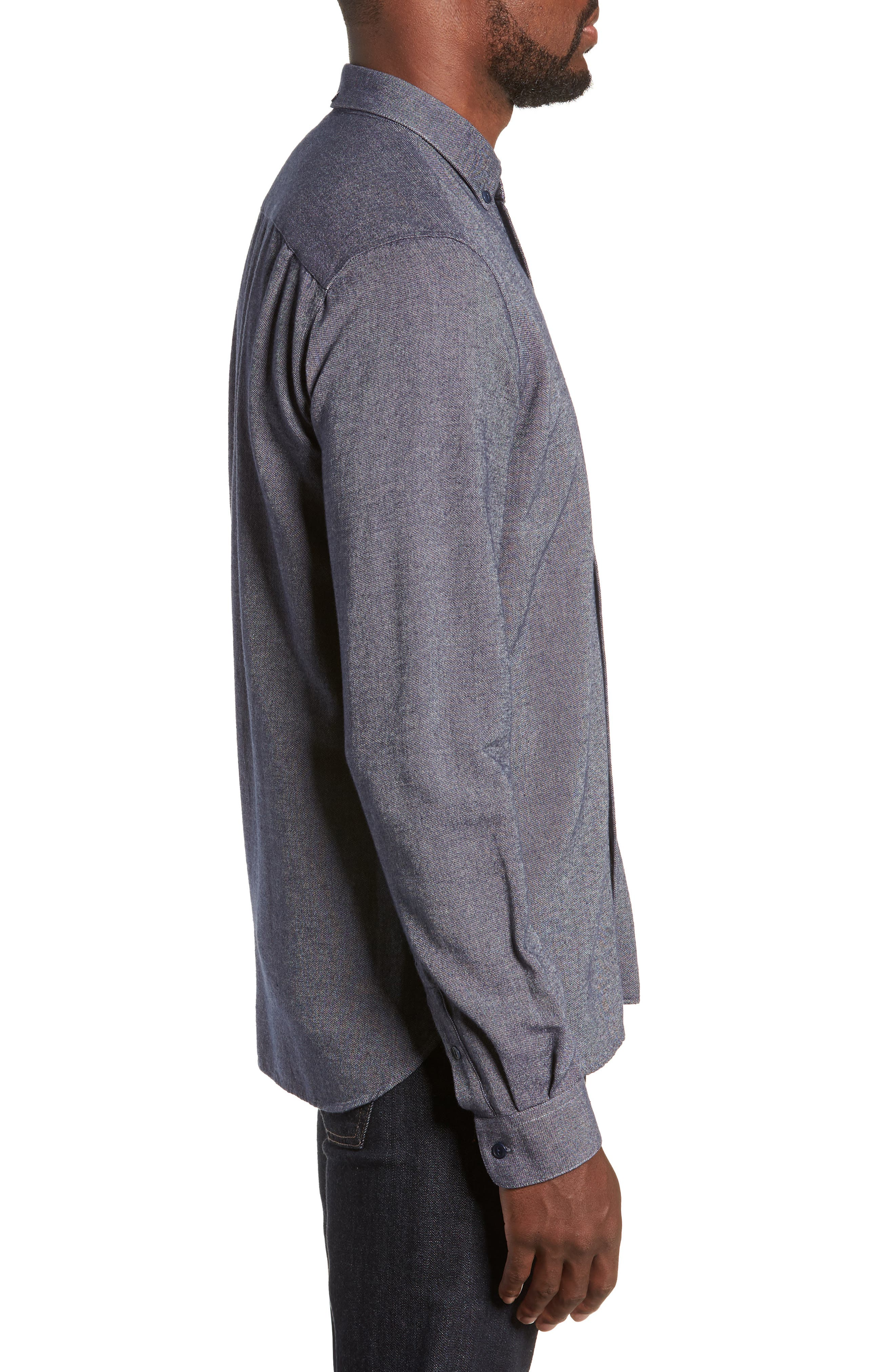 Dean Regular Fit Chambray Shirt,                             Alternate thumbnail 4, color,                             NAVY