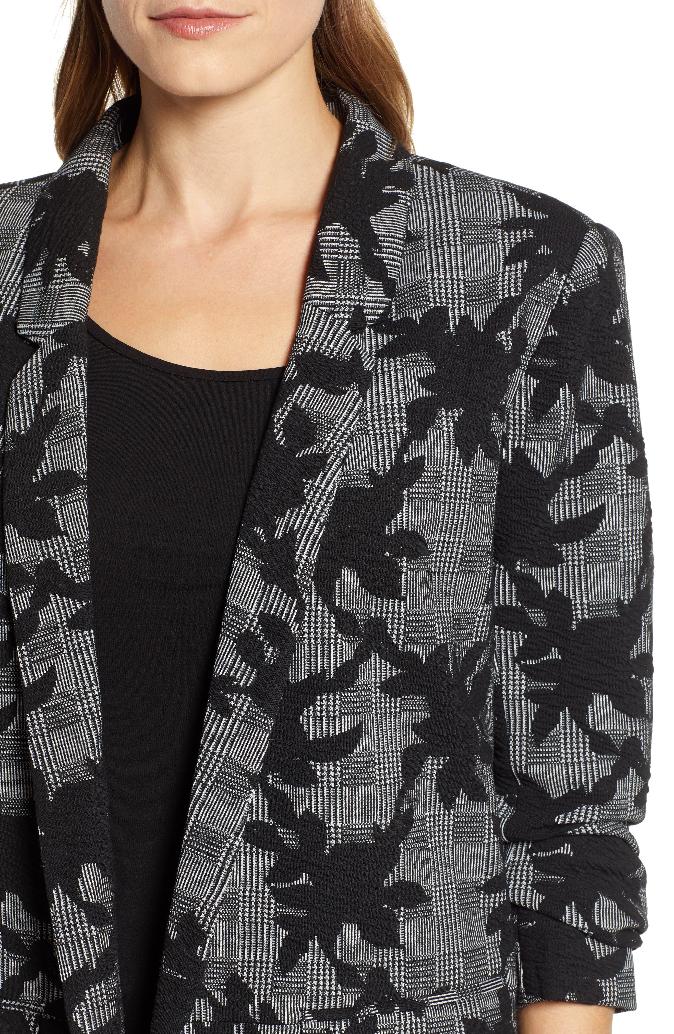 Floral Plaid Jacket,                             Alternate thumbnail 4, color,                             BLACK/ GREY