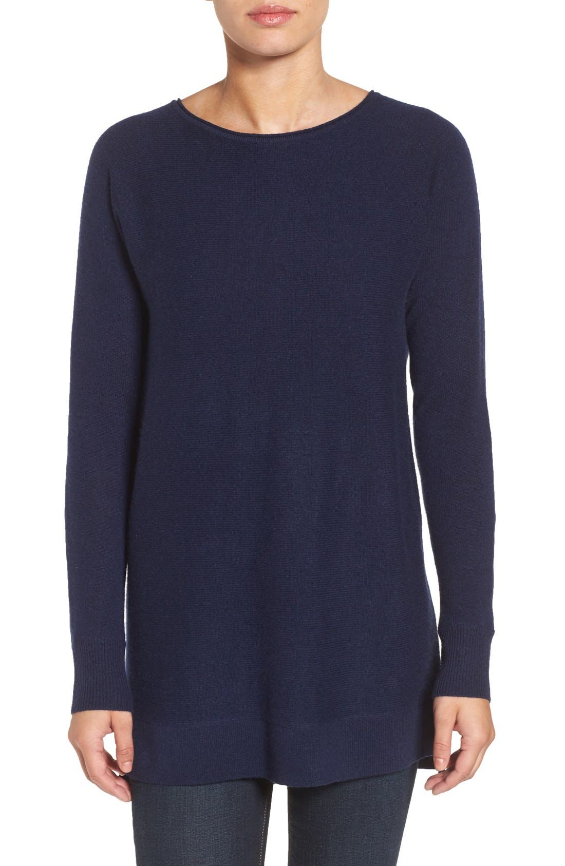 High/Low Wool & Cashmere Tunic Sweater,                             Main thumbnail 8, color,