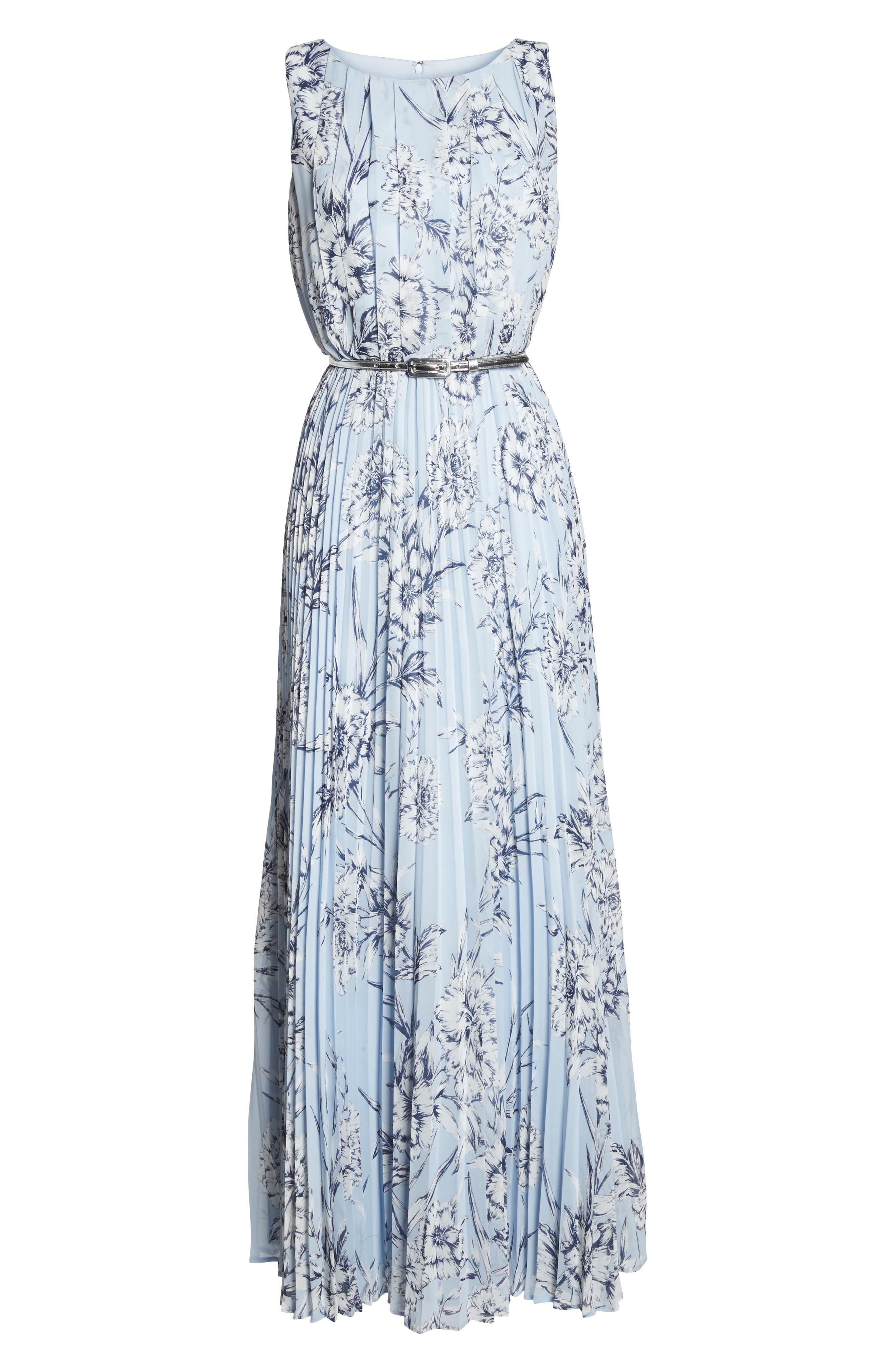 Pleated Maxi Dress,                             Alternate thumbnail 6, color,                             421