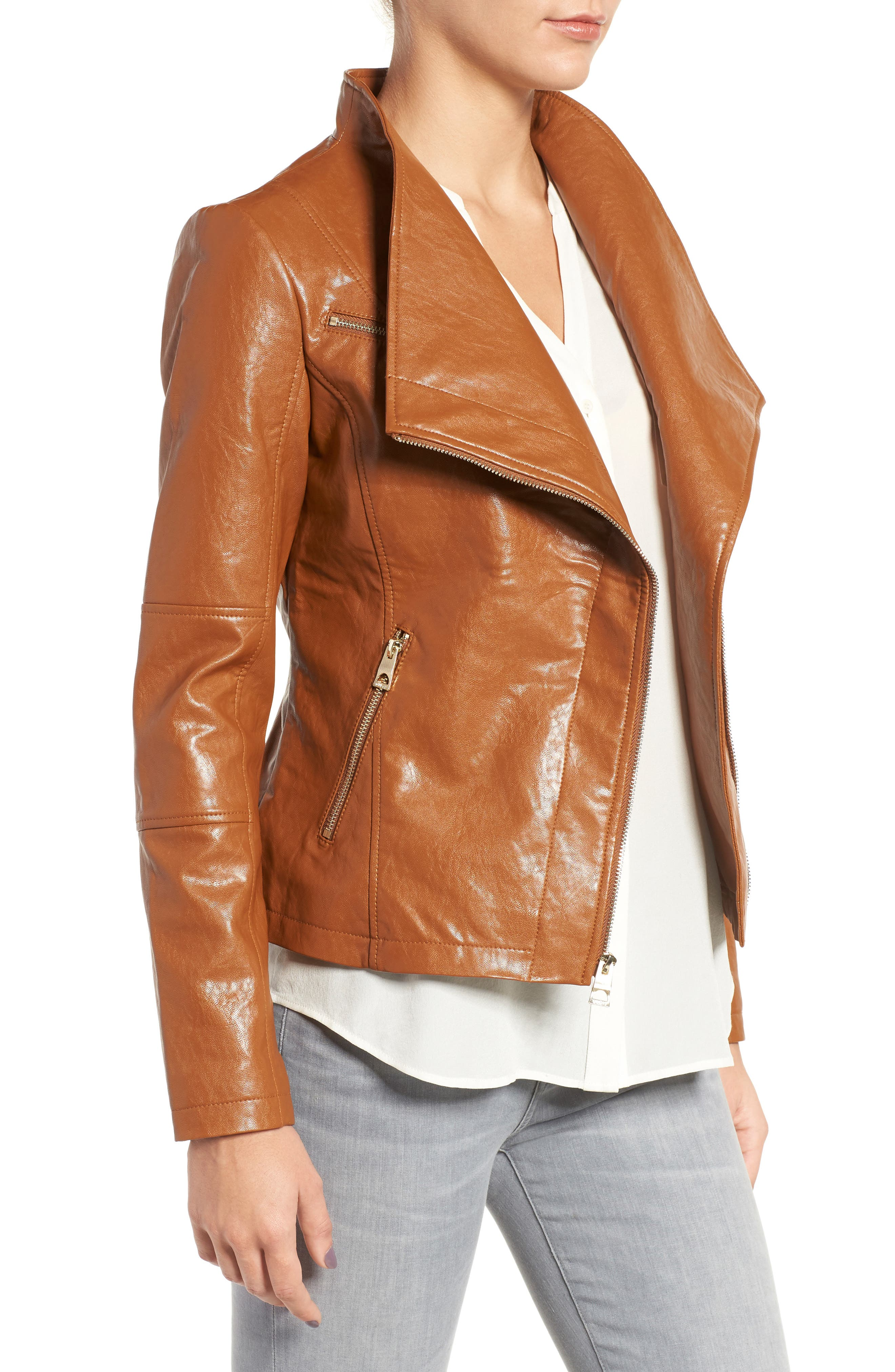 Asymmetrical Faux Leather Jacket,                             Alternate thumbnail 3, color,                             239