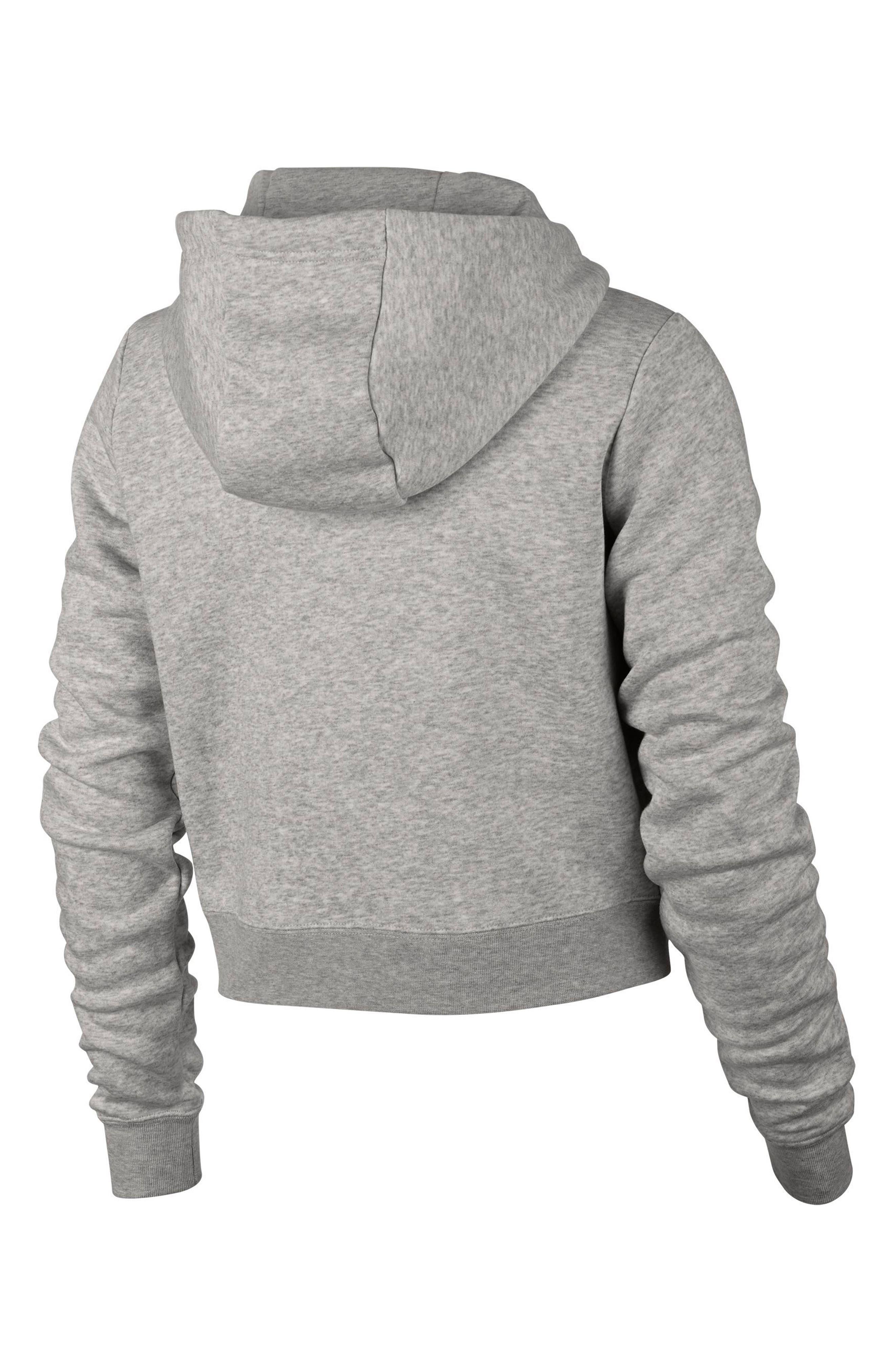 Sportswear Rally Crop Hoodie,                             Alternate thumbnail 2, color,                             GREY HEATHER/ PALE GREY/ WHITE
