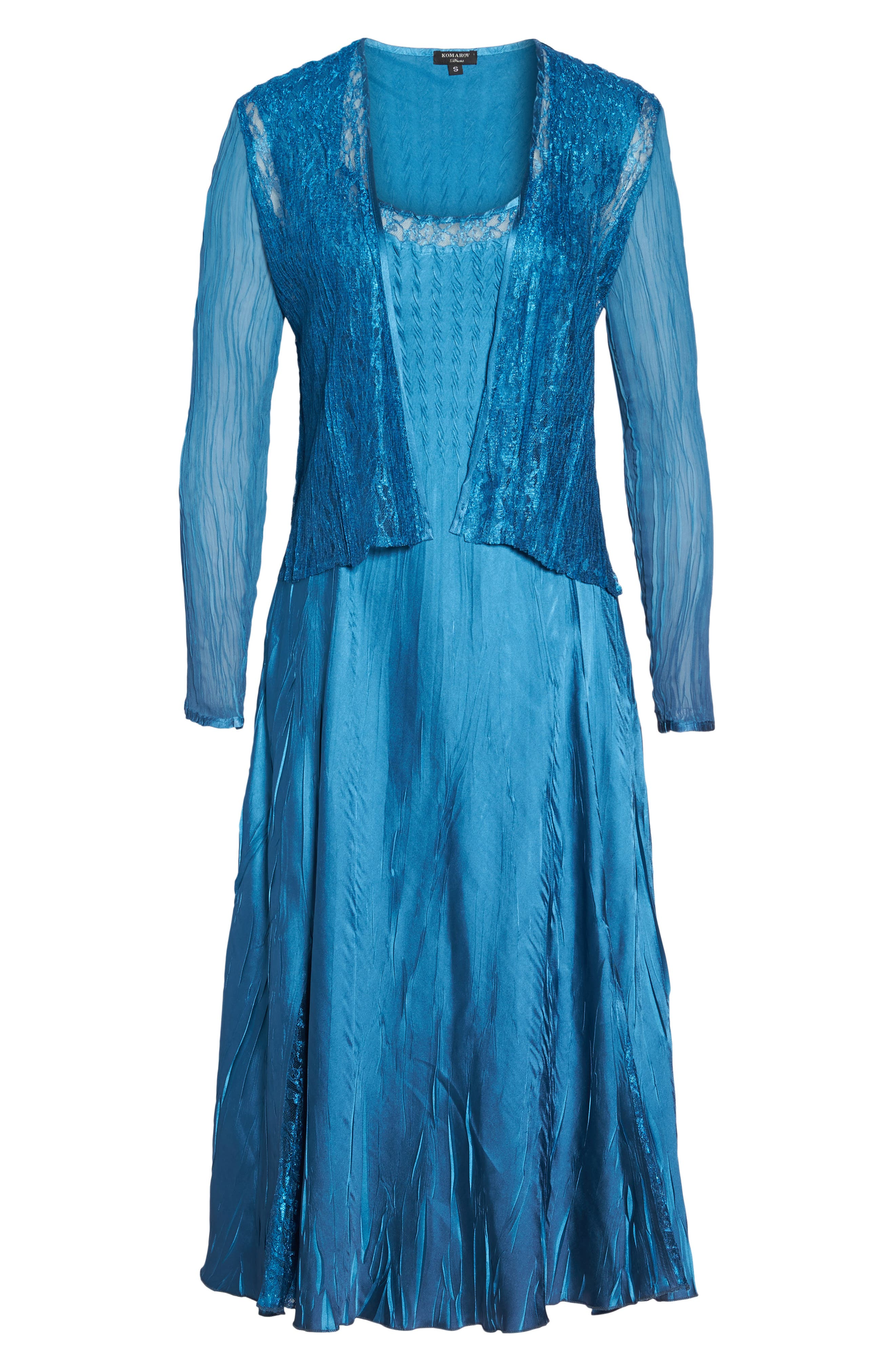 Lace & Charmeuse Dress with Jacket,                             Alternate thumbnail 6, color,                             407