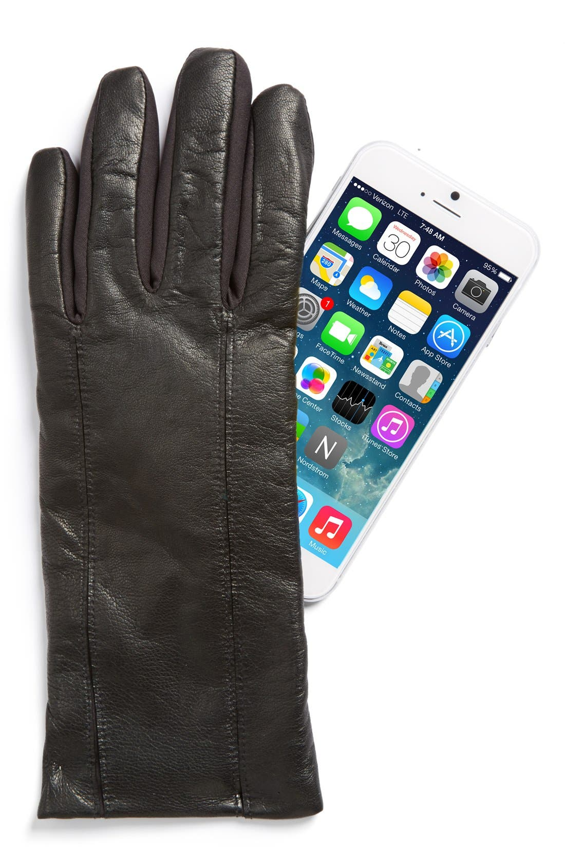 Leather Tech Gloves,                             Alternate thumbnail 2, color,                             001