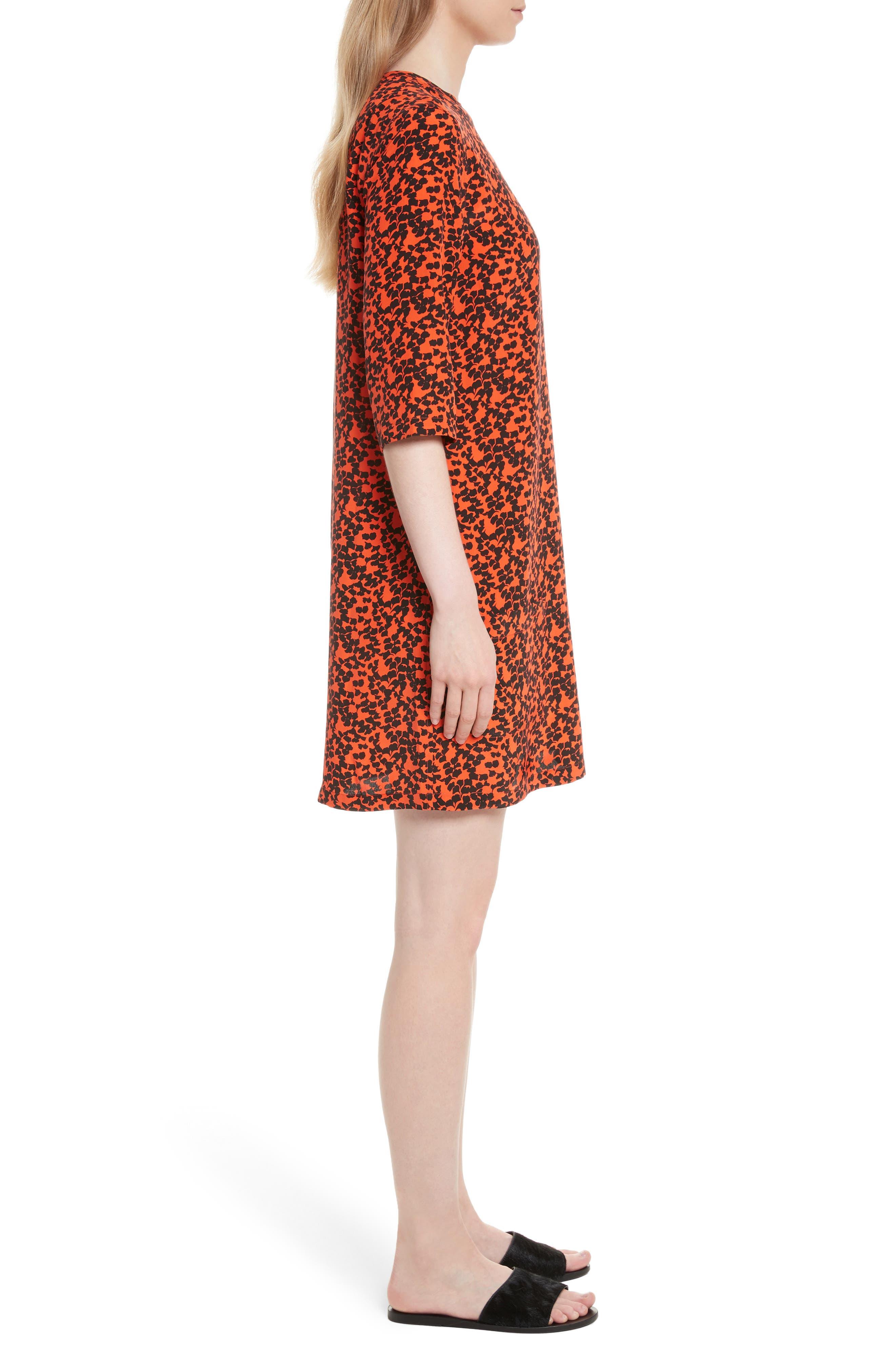 Aubrey Print Silk Shift Dress,                             Alternate thumbnail 3, color,                             641