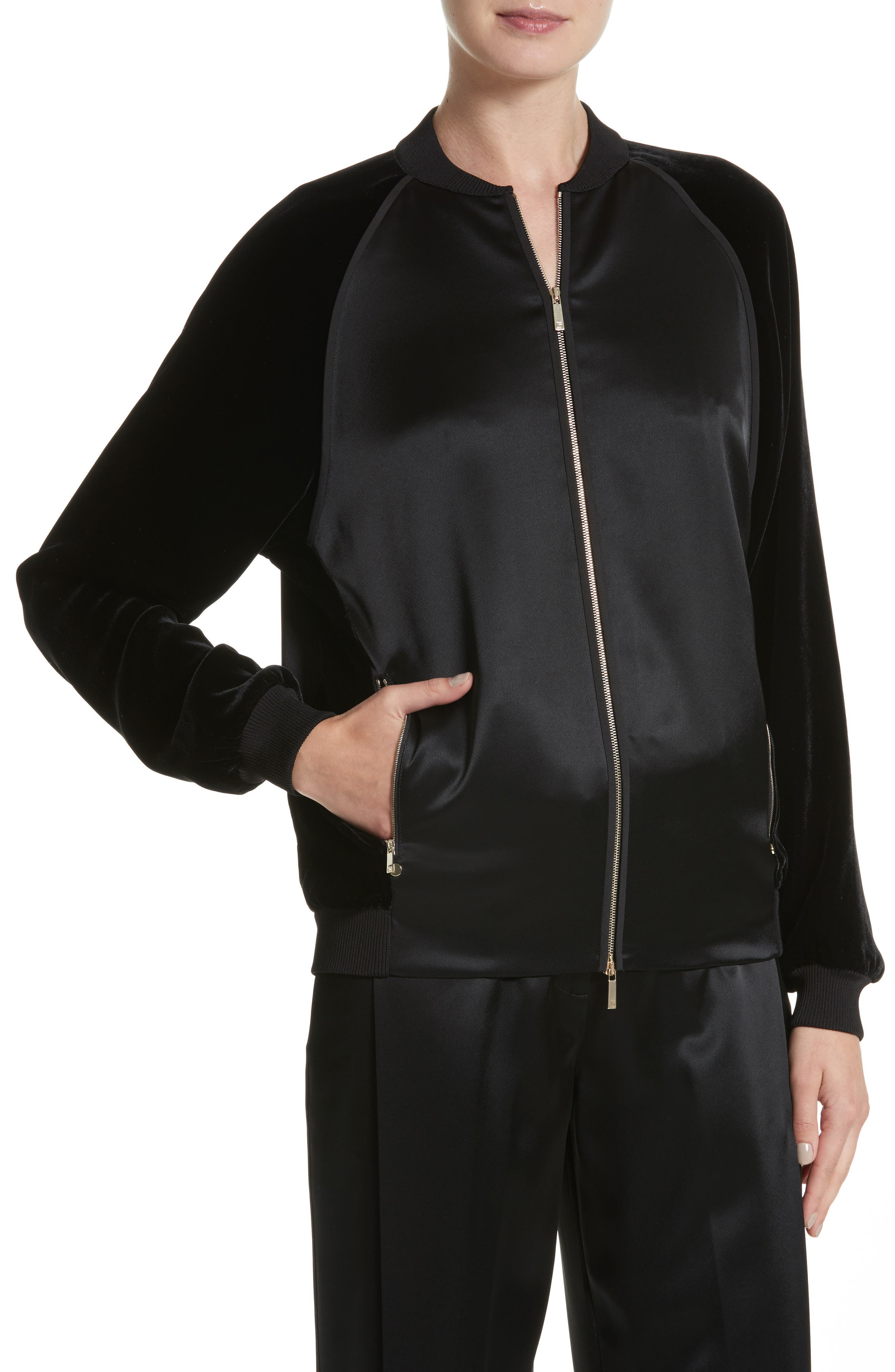 Brea Reverie Satin Cloth Bomber Jacket,                             Alternate thumbnail 4, color,                             001