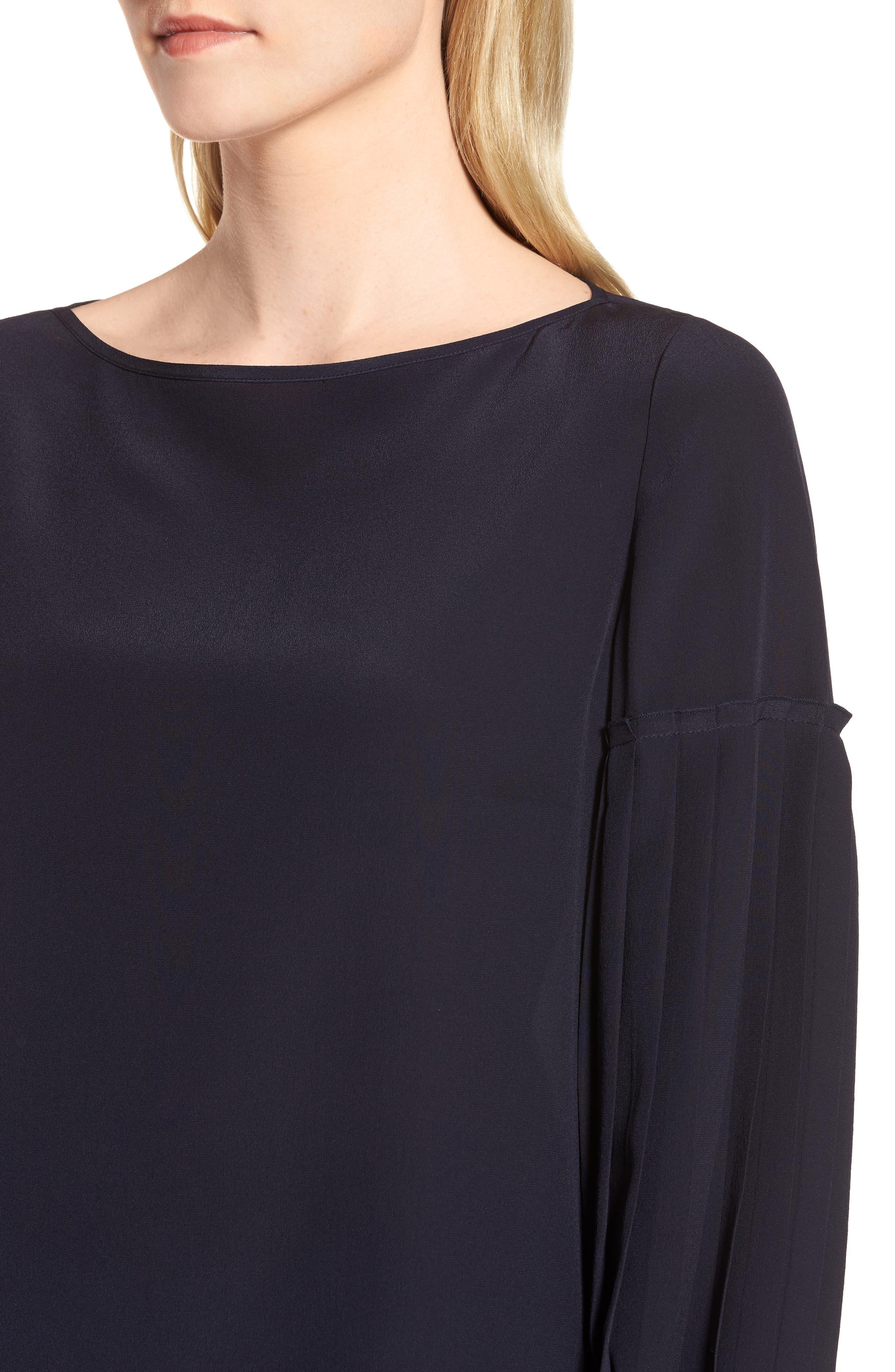 Pleat Sleeve Silk Top,                             Alternate thumbnail 4, color,                             410