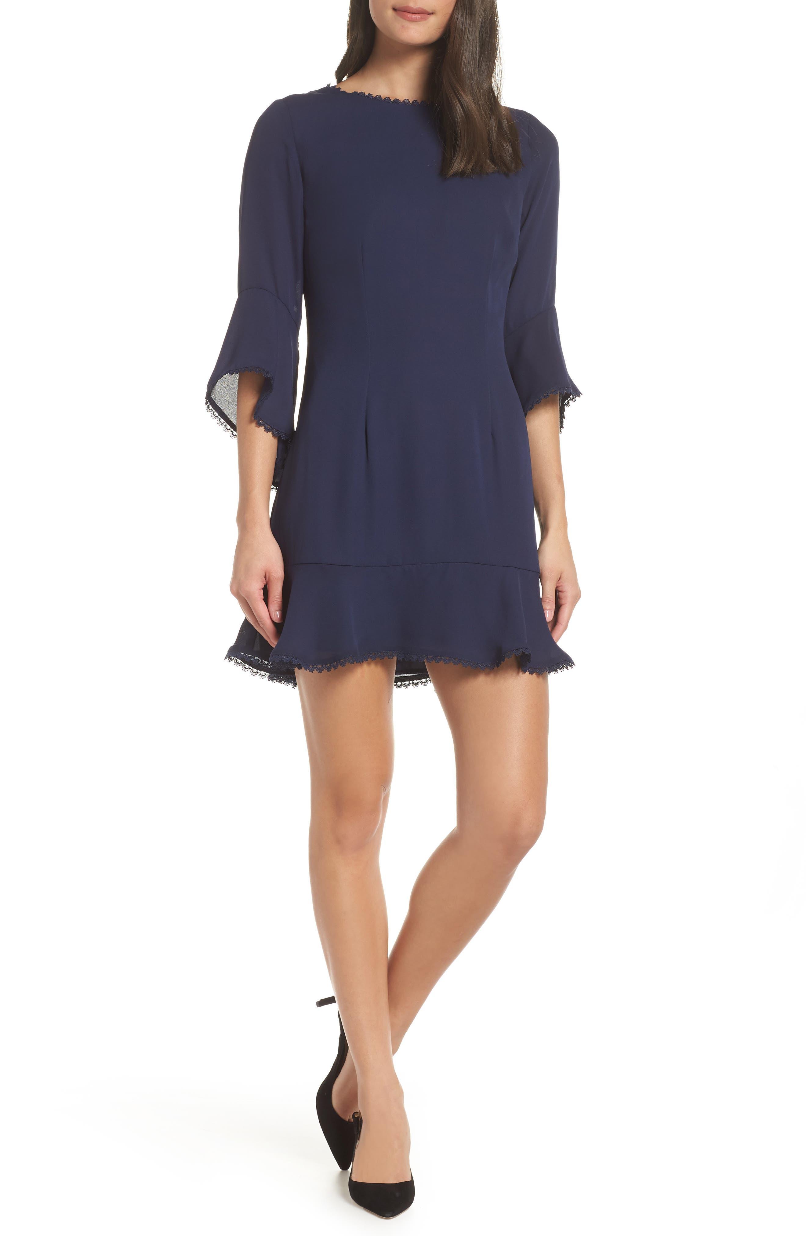 Bb Dakota Flounce Hem Crepe Dress, Black