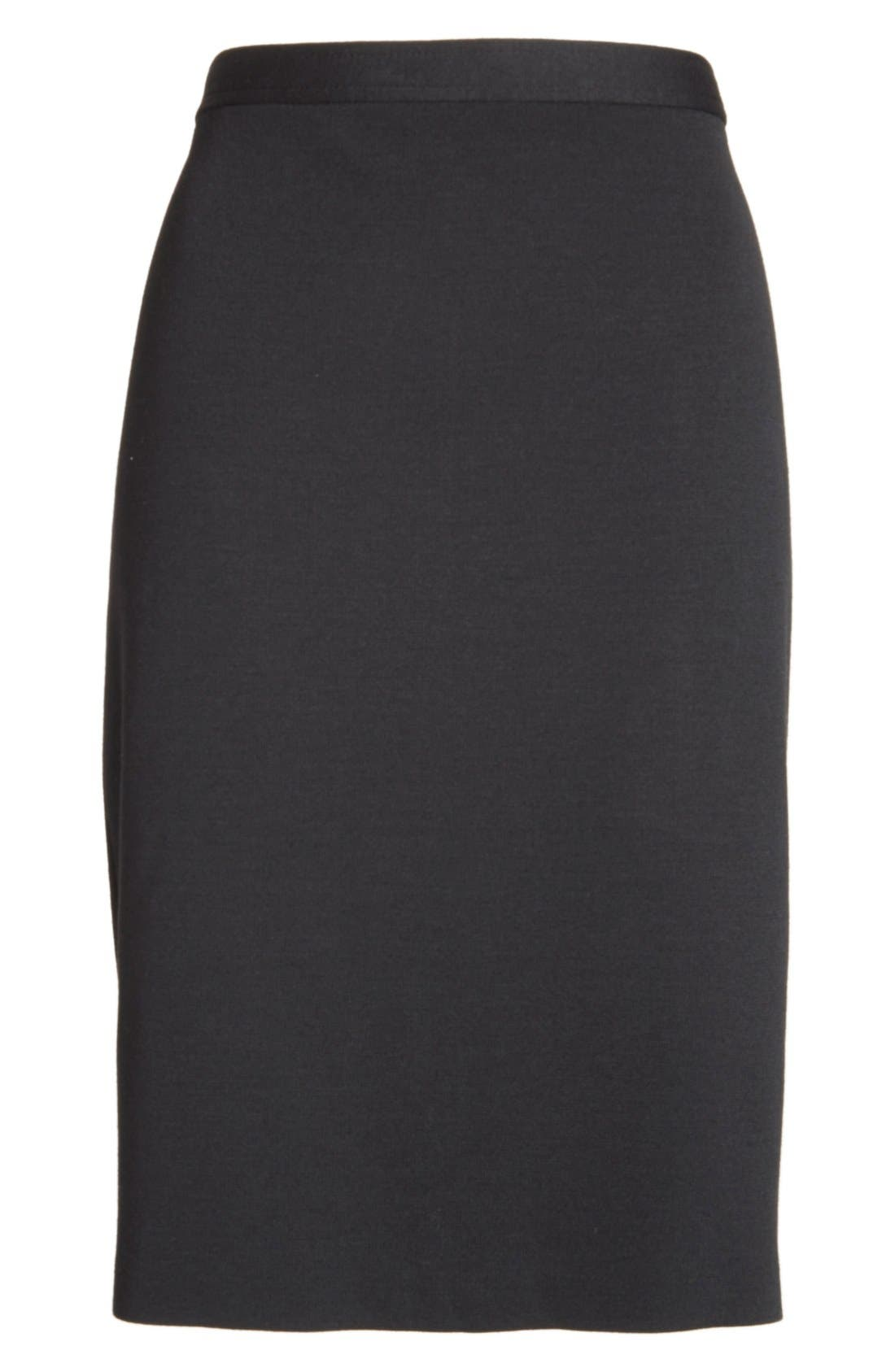 Milano Knit Pencil Skirt,                             Alternate thumbnail 5, color,                             CAVIAR