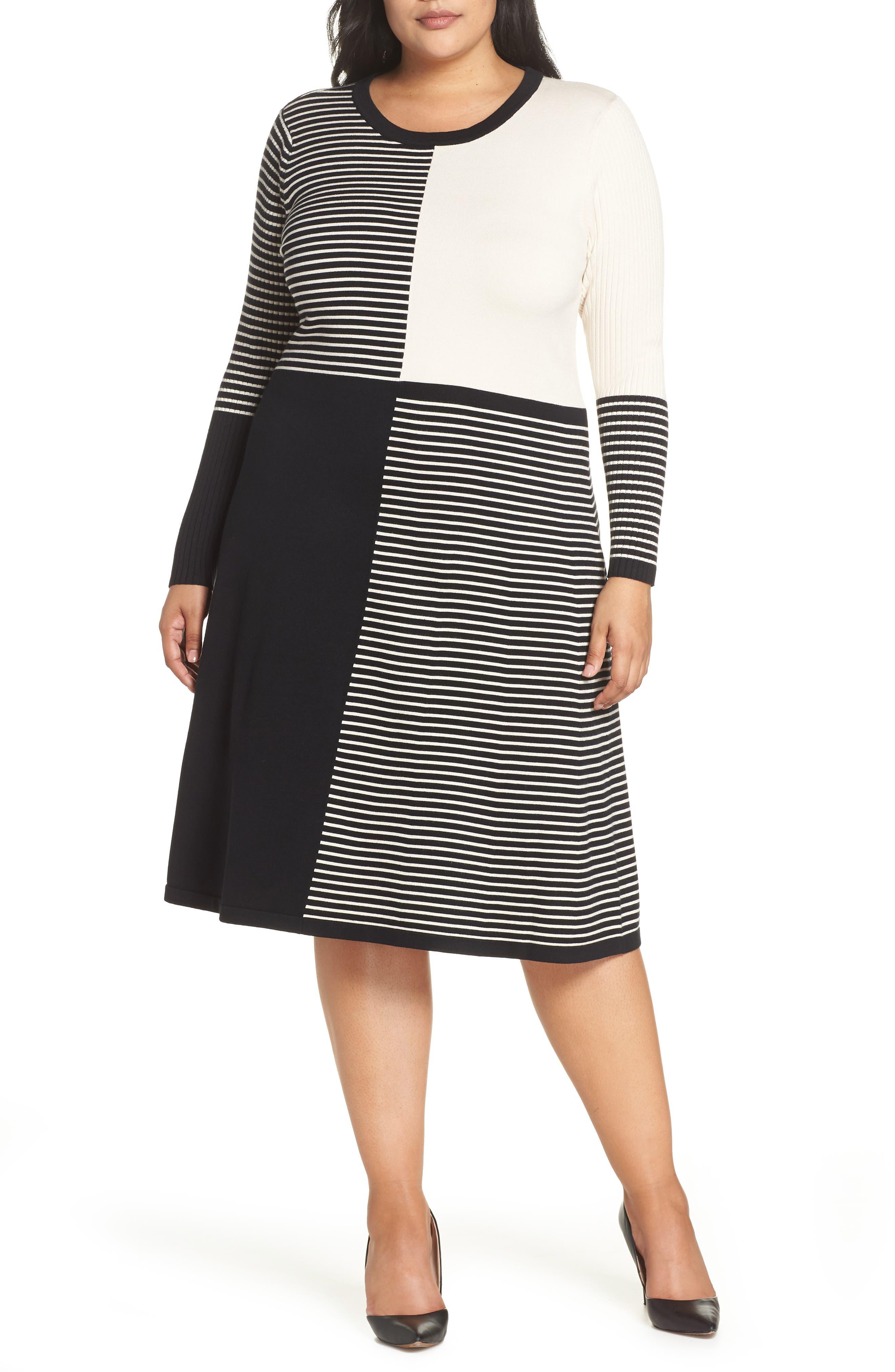 Plus Size Eliza J Placed Stripe Midi Sweater Dress