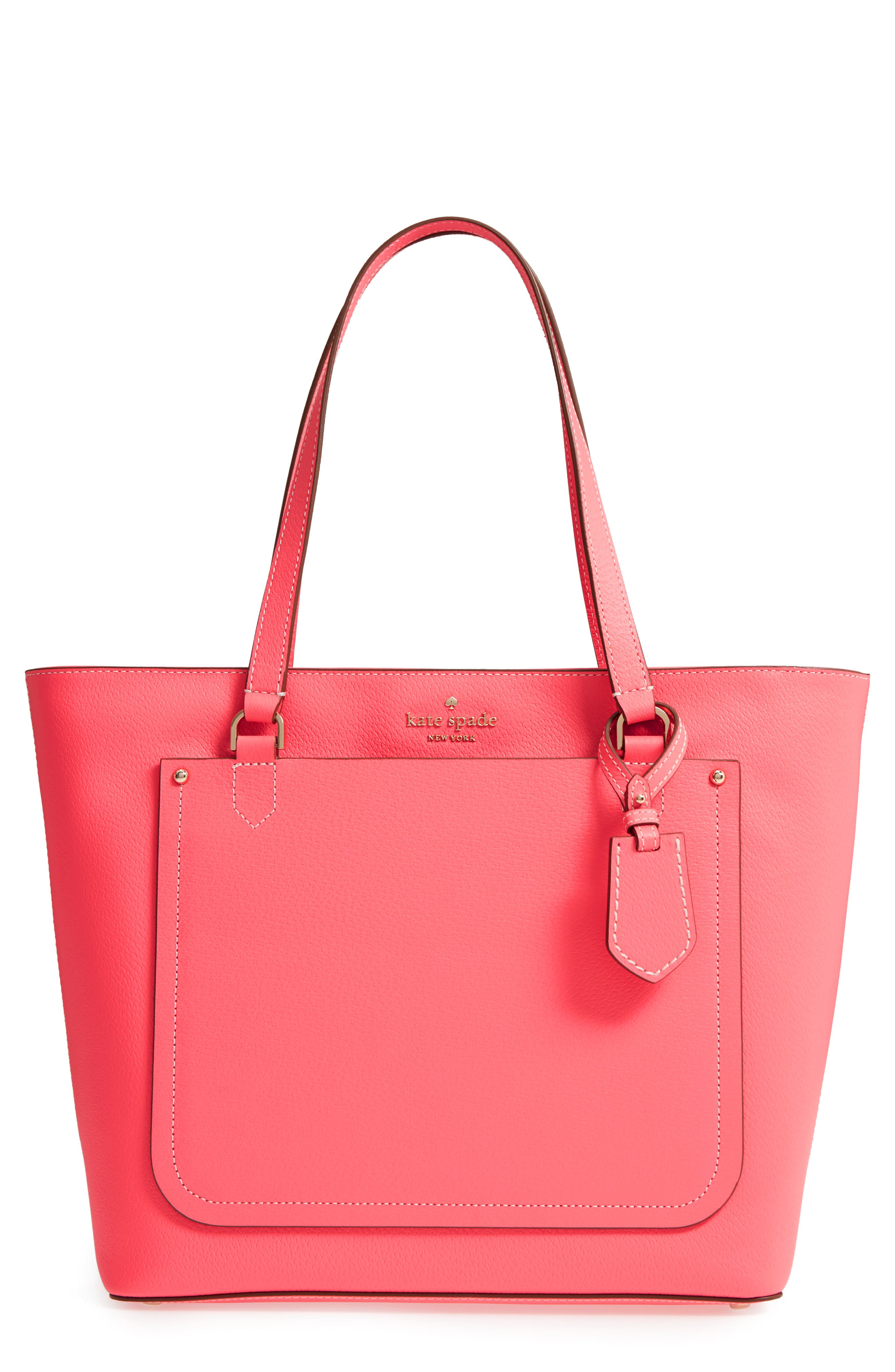 thompson street - kimberly leather tote,                         Main,                         color, BRIGHT FLAMINGO
