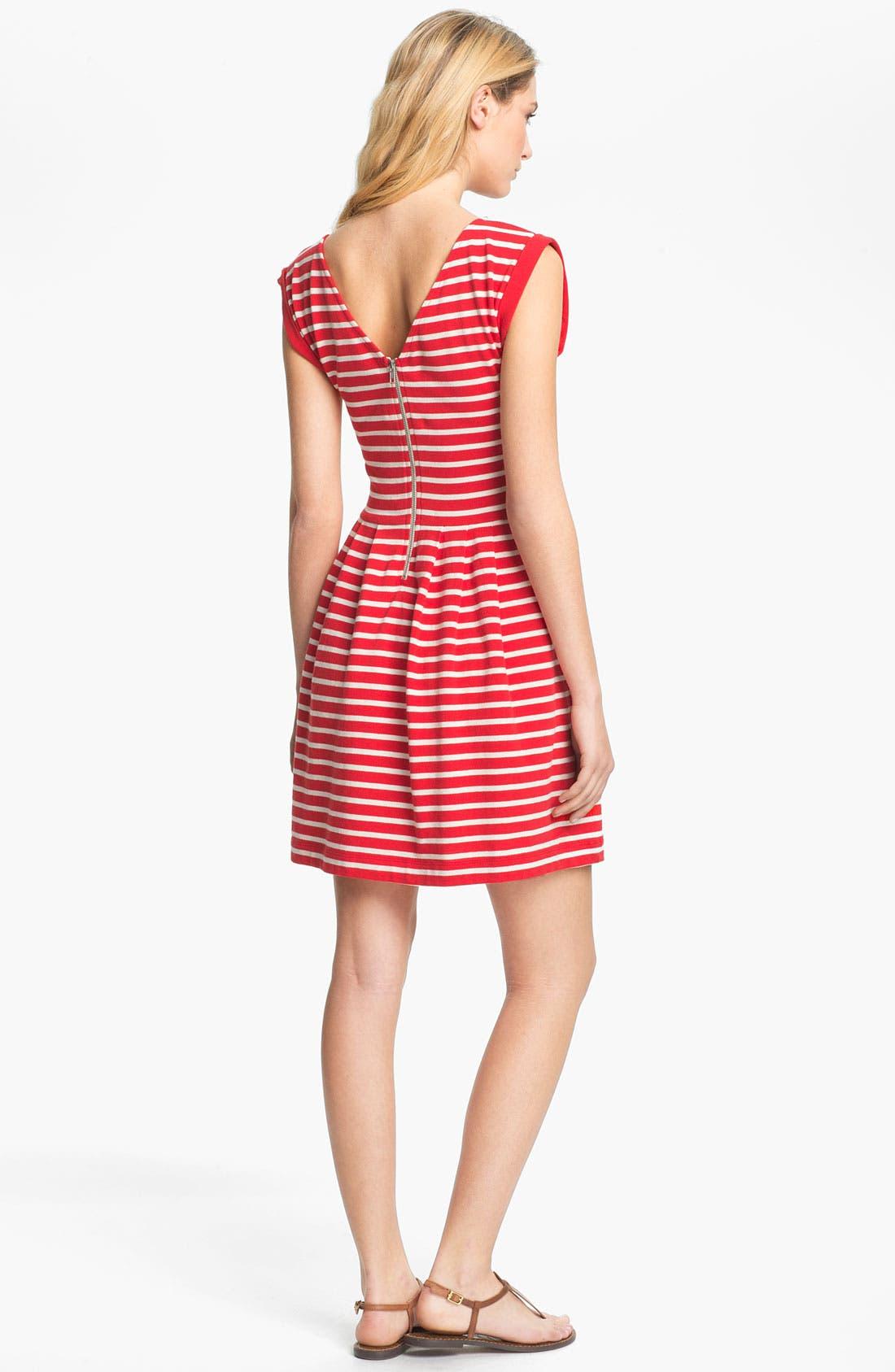 'Classic County' Stripe Cotton Fit & Flare Dress,                             Alternate thumbnail 3, color,                             606
