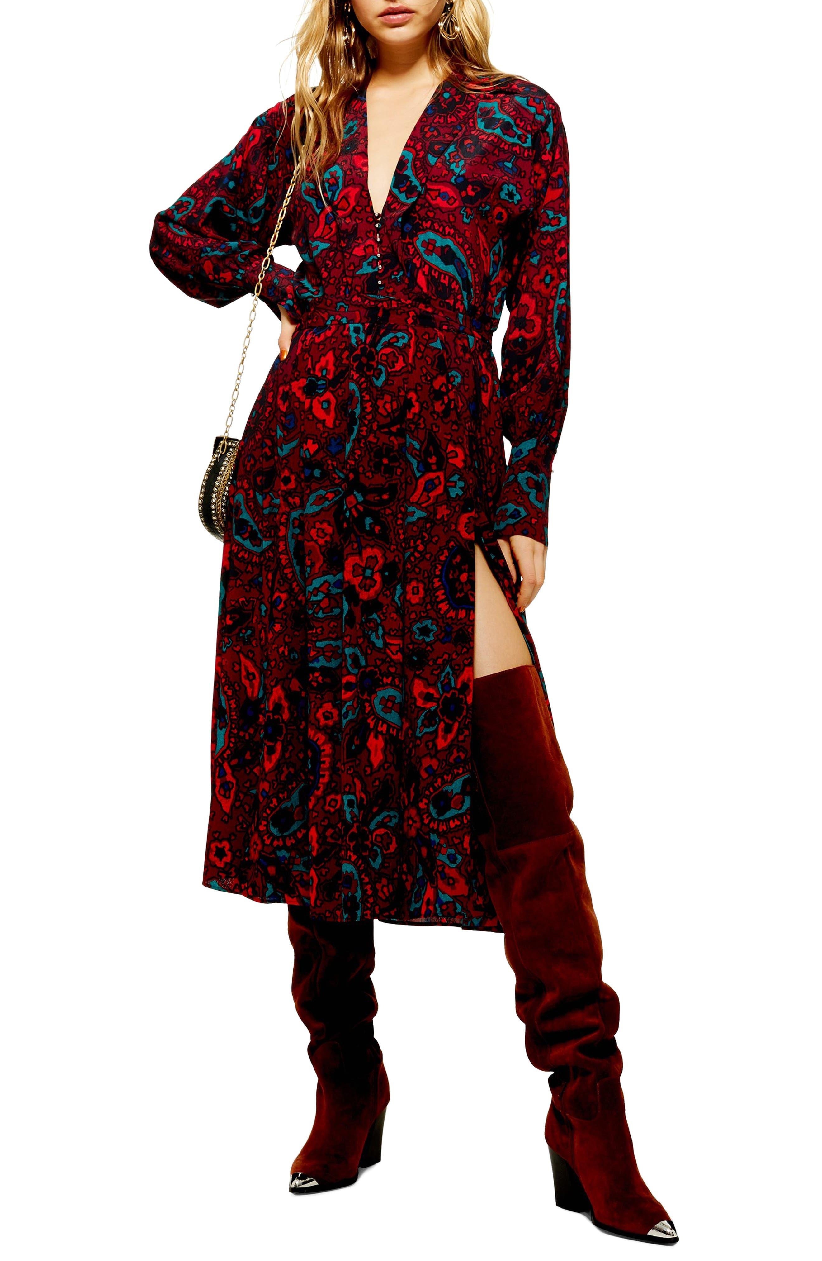 Paisley Oversize Shirtdress,                             Main thumbnail 1, color,                             RED MULTI