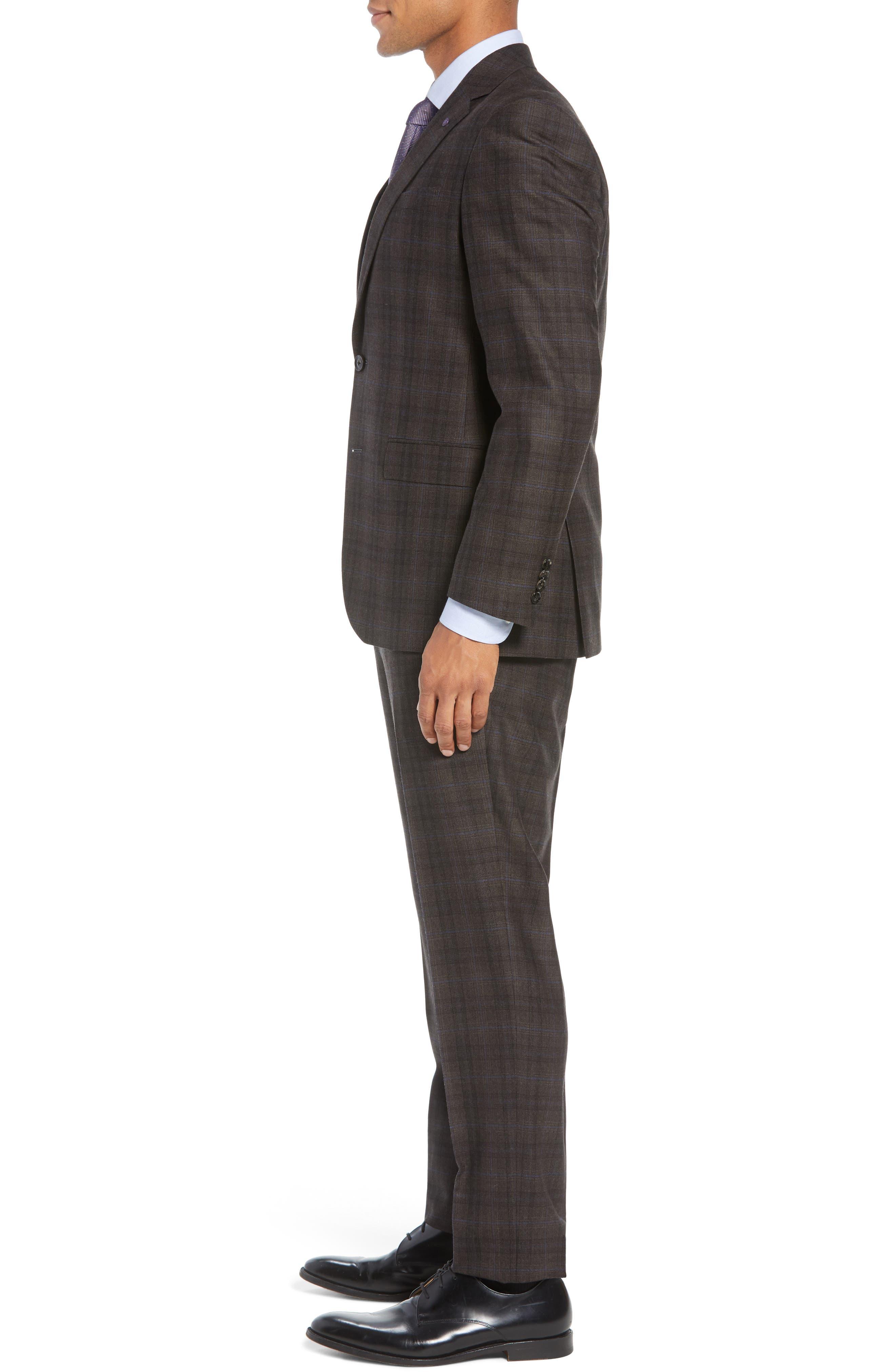 Jay Trim Fit Plaid Wool Suit,                             Alternate thumbnail 3, color,                             BROWN PLAID
