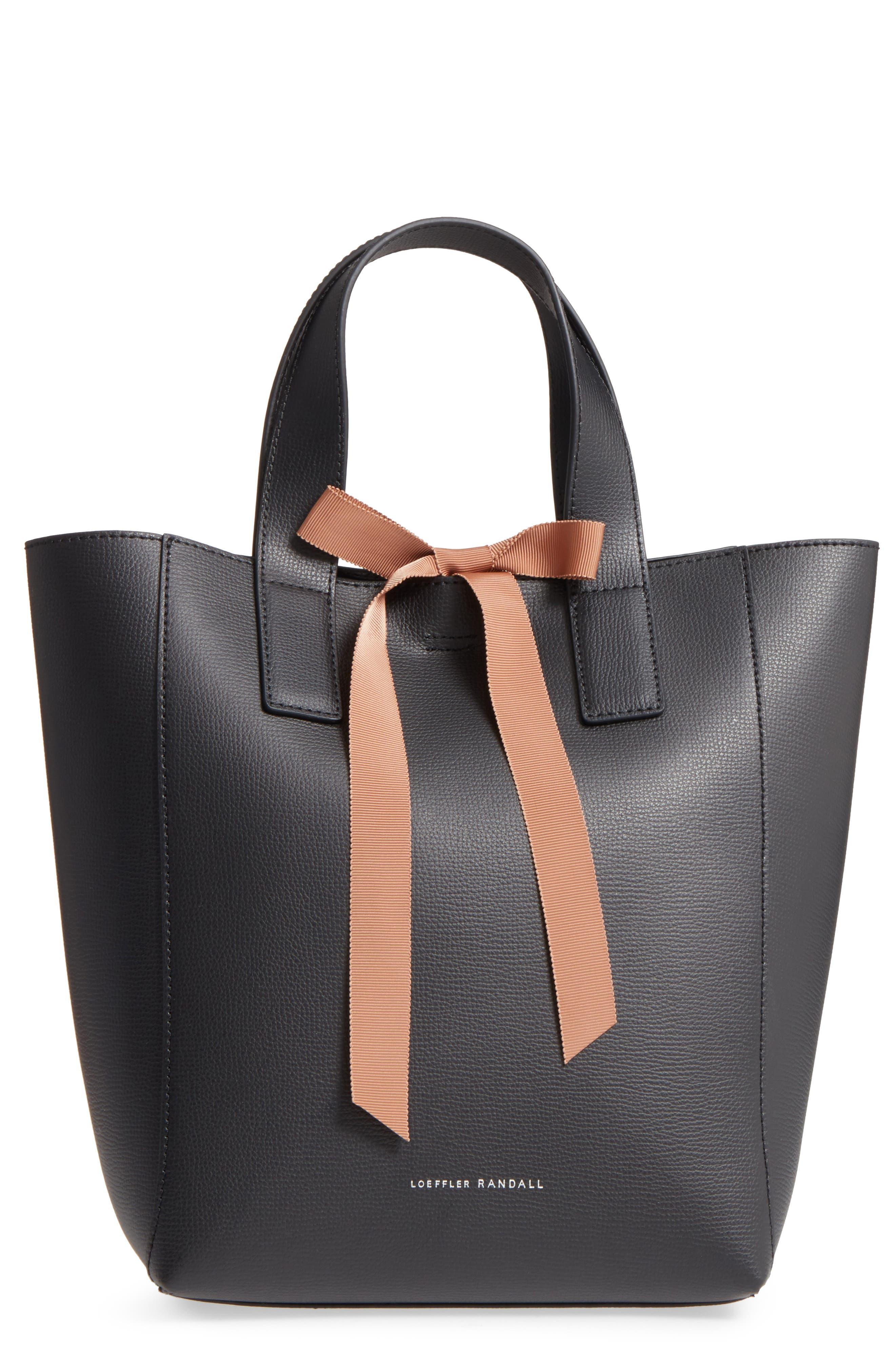 Ribbon Tie Leather Top Handle Shopper,                         Main,                         color, 008