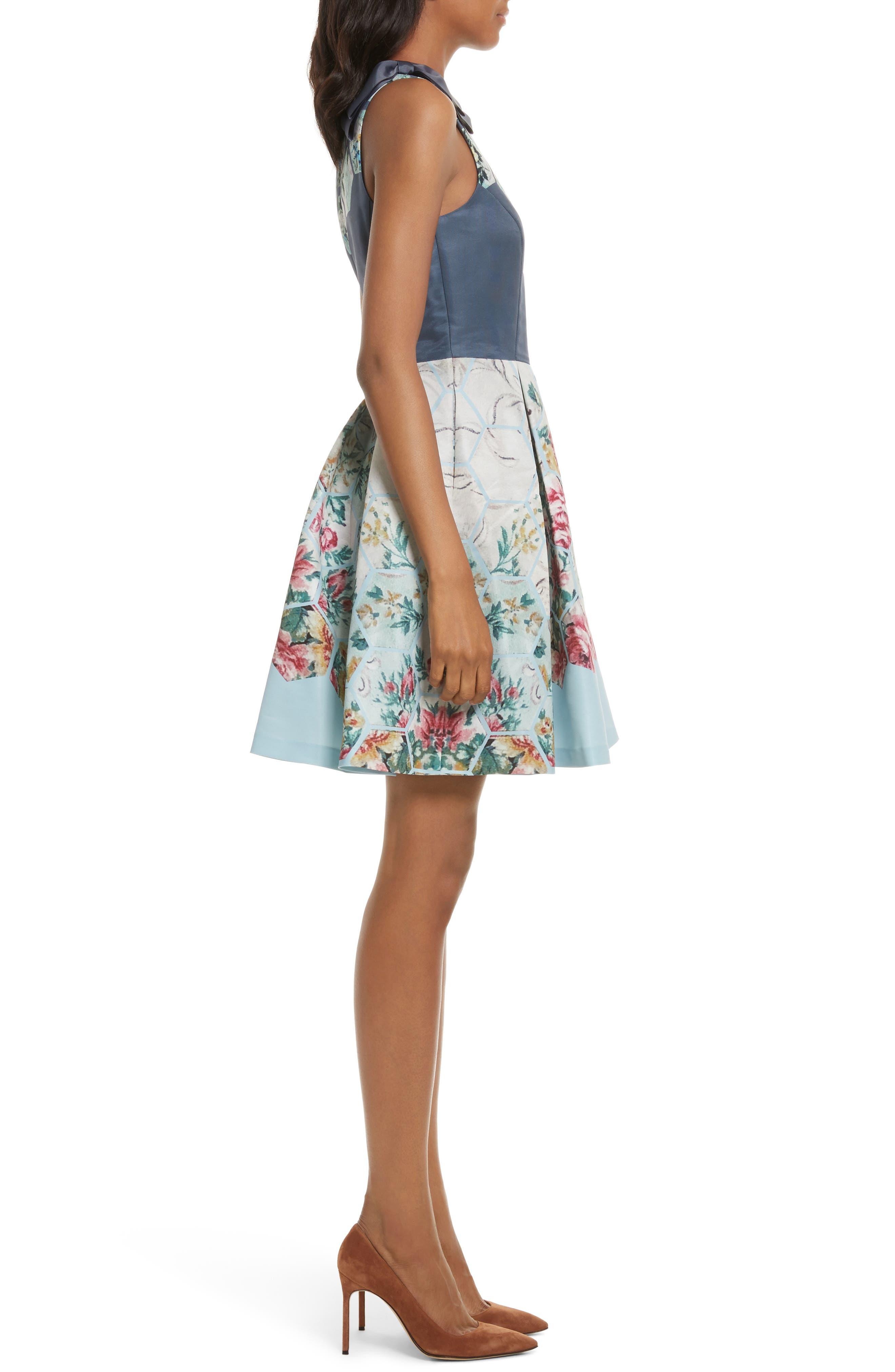 Bow Skater Dress,                             Alternate thumbnail 3, color,                             021