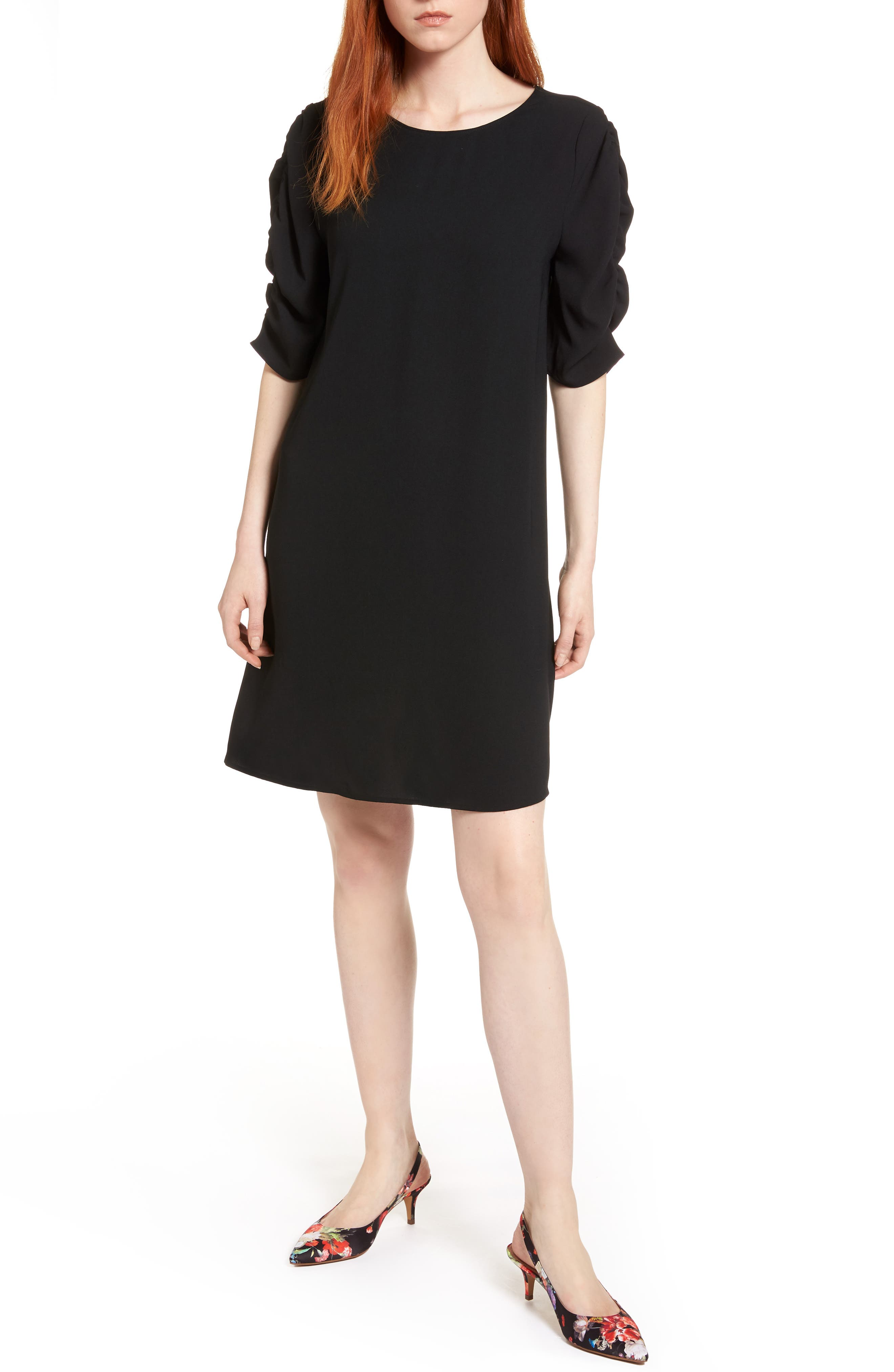 Ruched Sleeve Crepe Dress,                             Main thumbnail 1, color,                             001