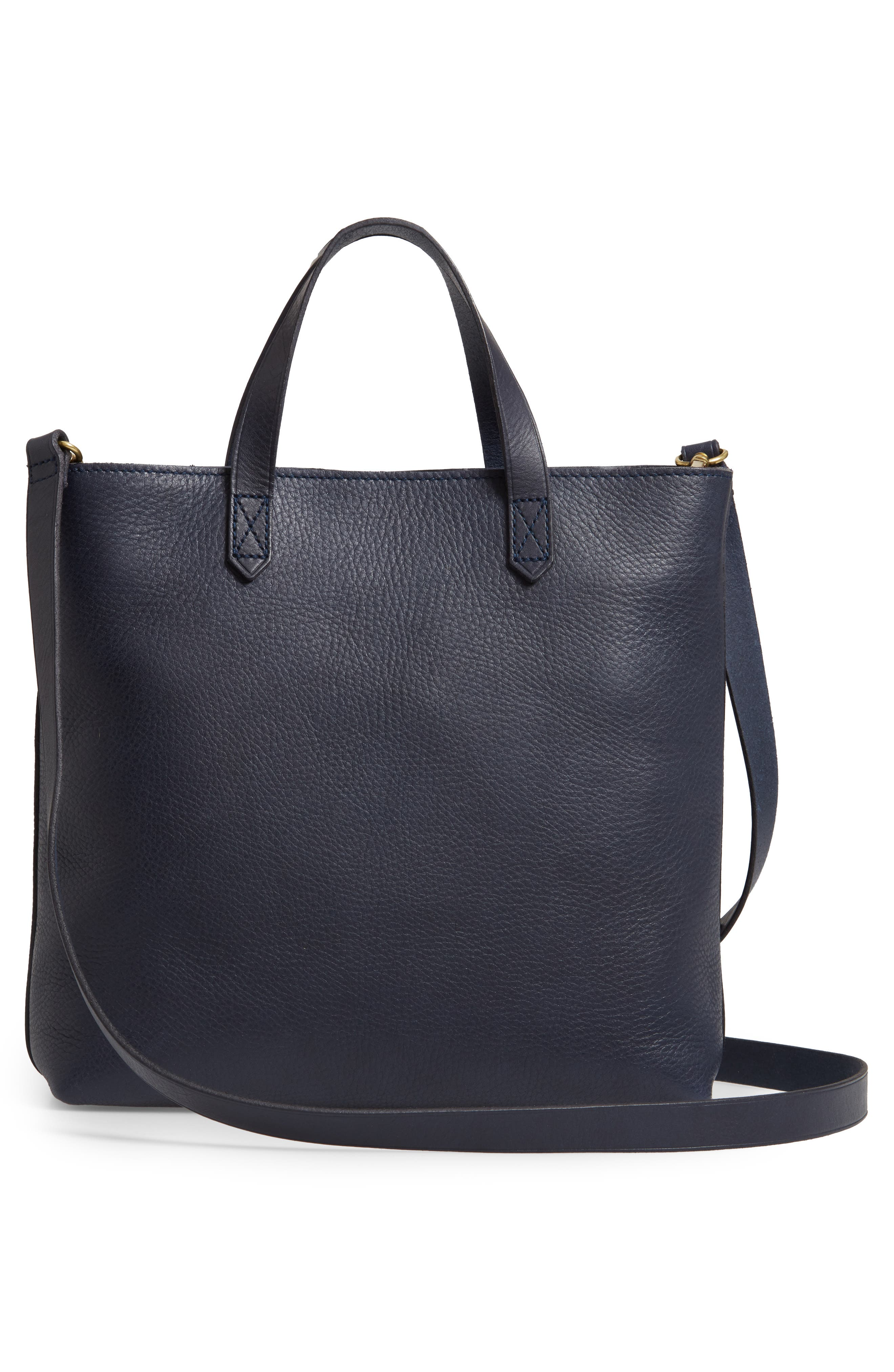 Small Transport Leather Crossbody Tote,                             Alternate thumbnail 3, color,                             DEEP NAVY