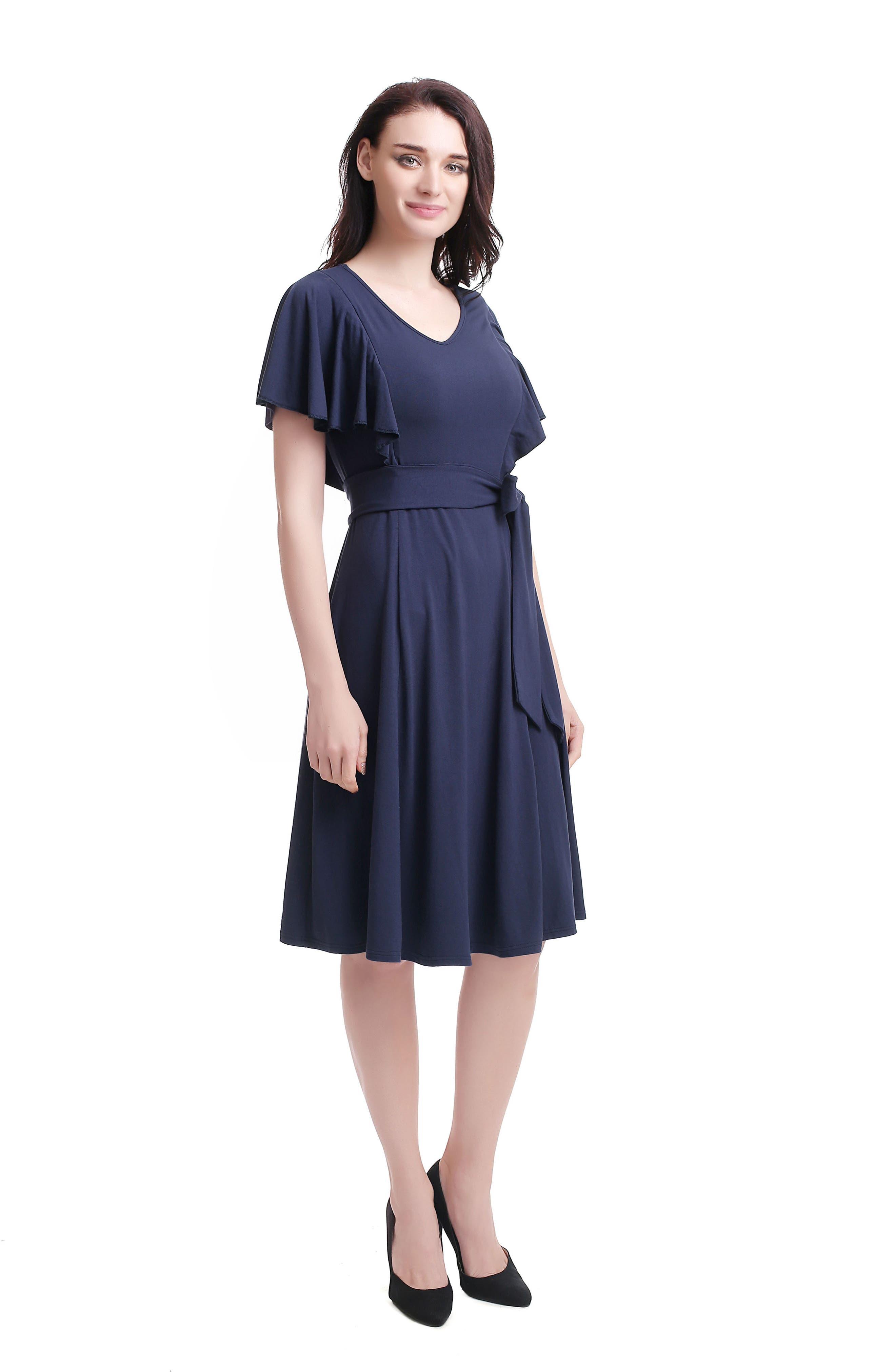 Kimi & Kai Rhea Tie Maternity/Nursing Skater Dress,                             Alternate thumbnail 5, color,                             NAVY