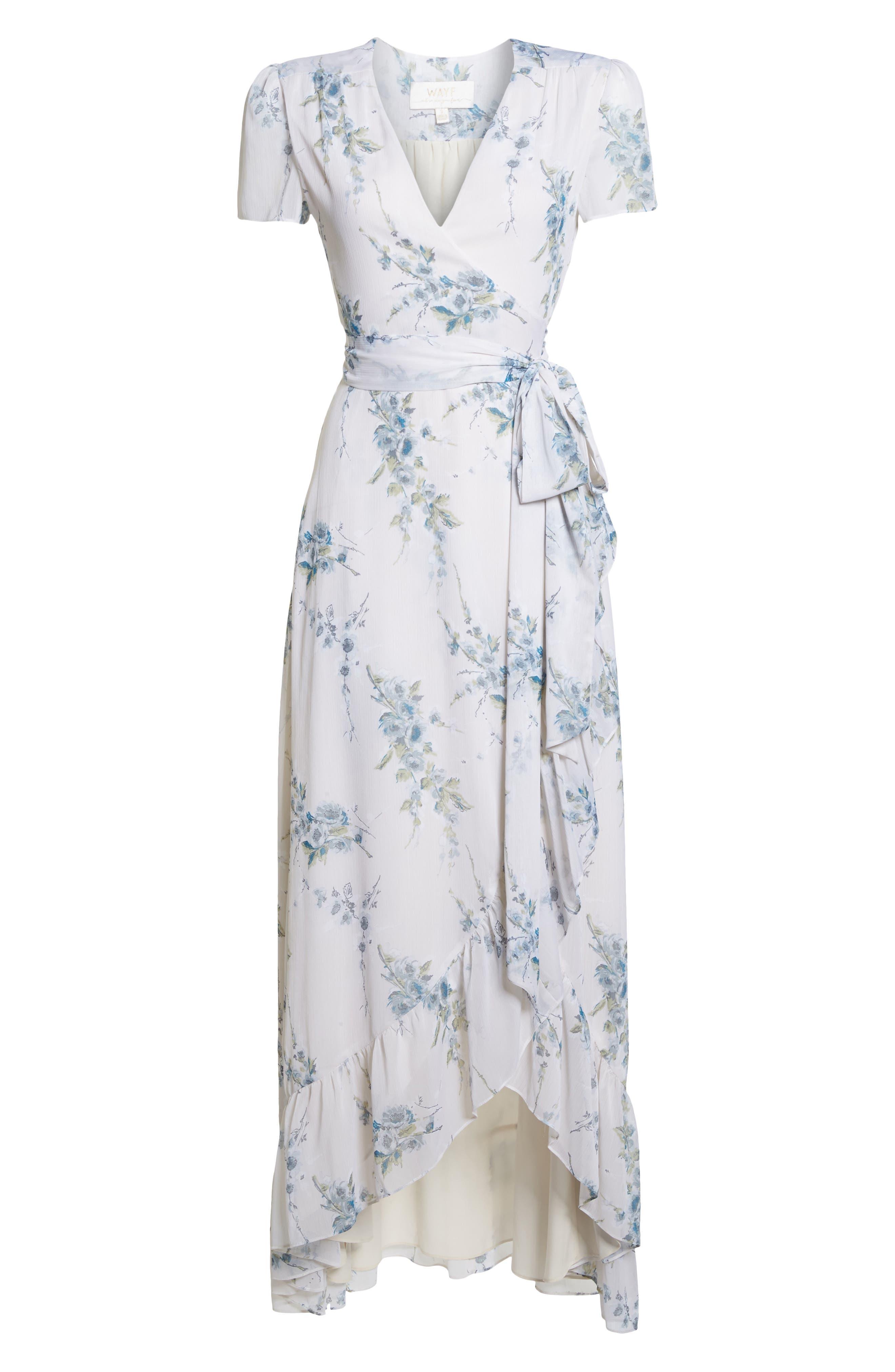 The Natasha Floral Wrap Maxi Dress,                             Alternate thumbnail 6, color,                             BLUE GARDEN FLORAL
