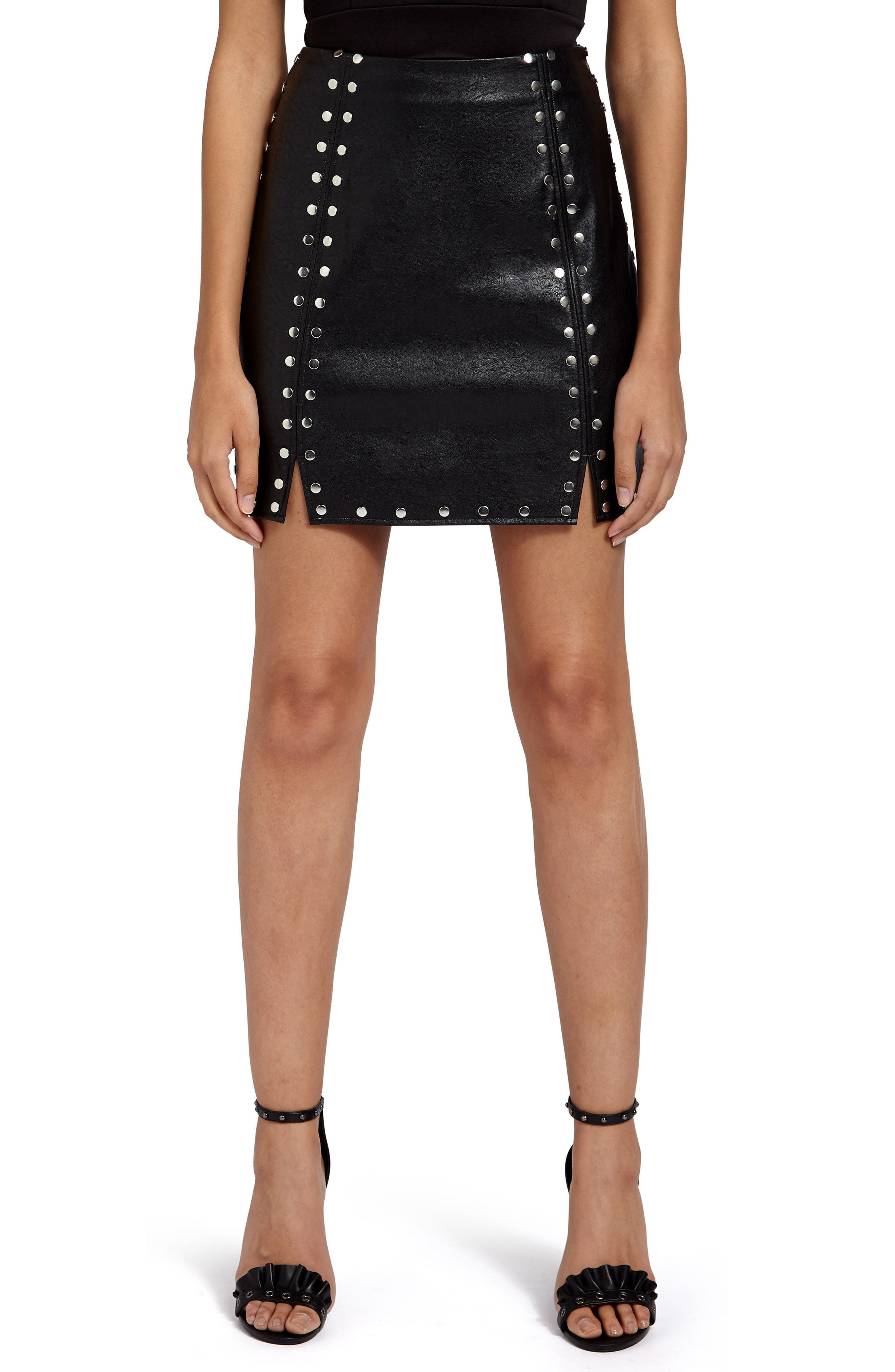 Studded Faux Leather Miniskirt,                         Main,                         color, 001