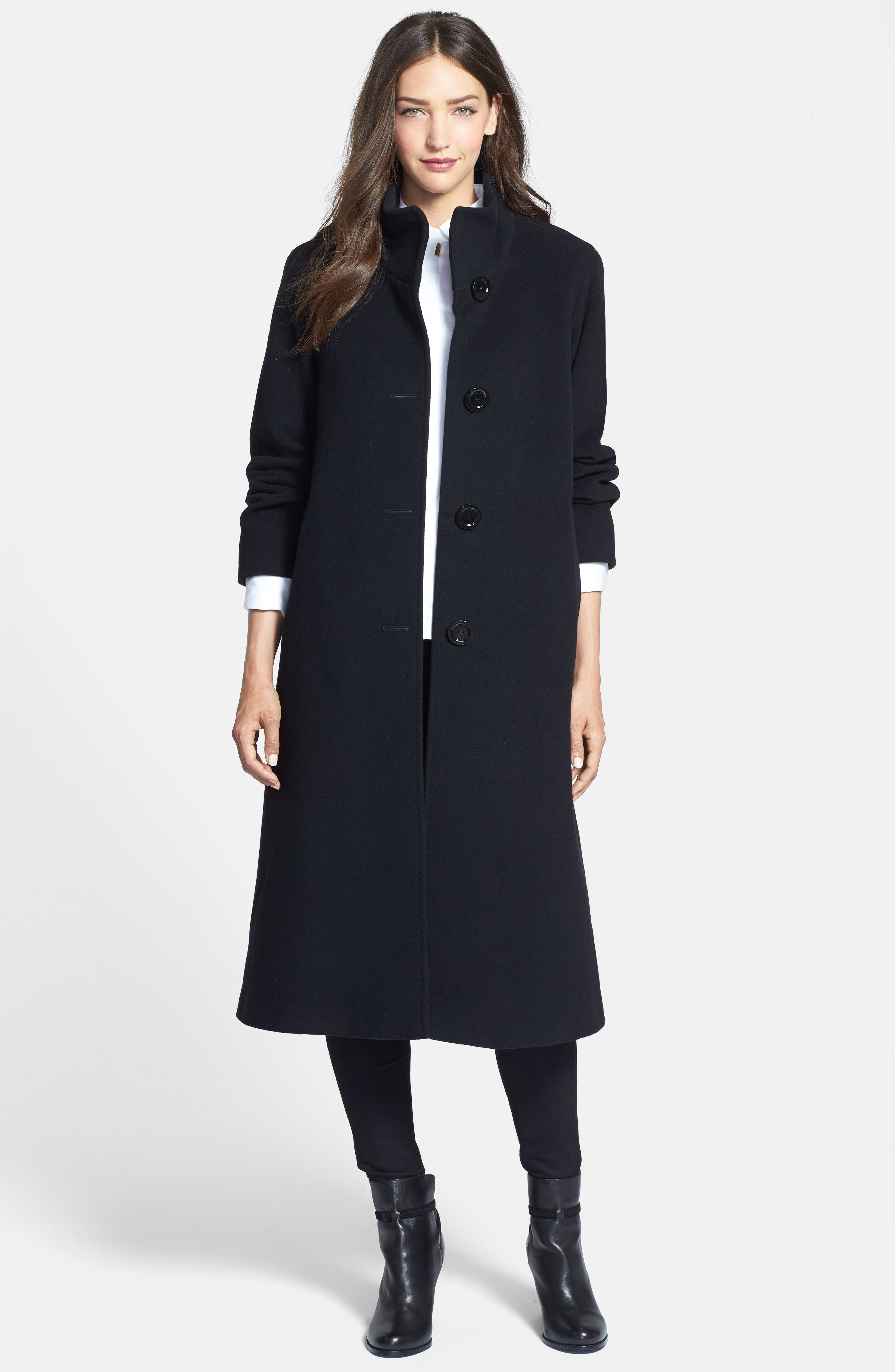 Cinzia Rocca DUE Stand Collar Side Slit Long Coat,                         Main,                         color, 001