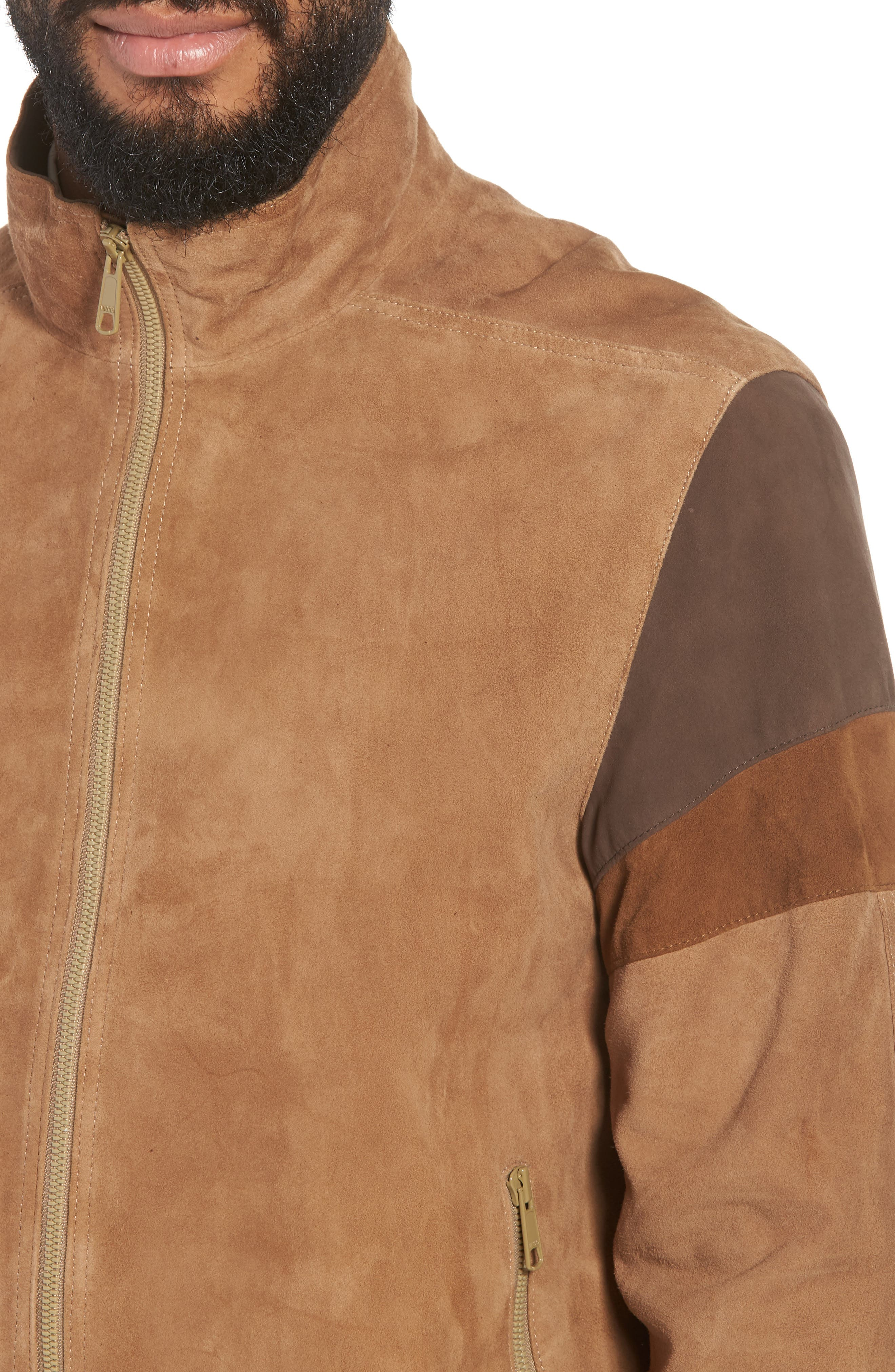 Colorblock Leather Track Jacket,                             Alternate thumbnail 4, color,                             250