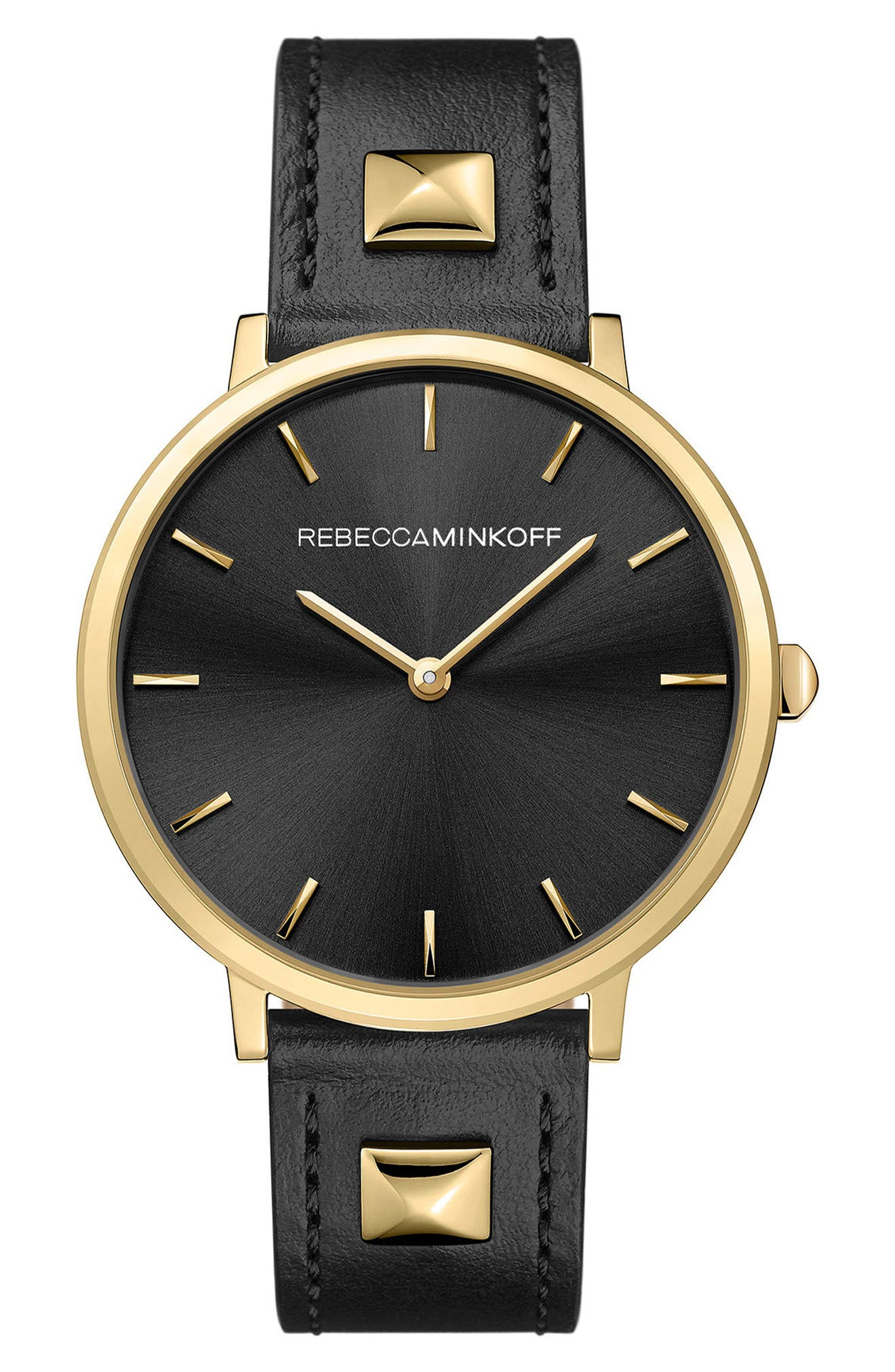 Major Stud Leather Strap Watch, 35mm,                             Main thumbnail 1, color,                             BLACK/ GOLD