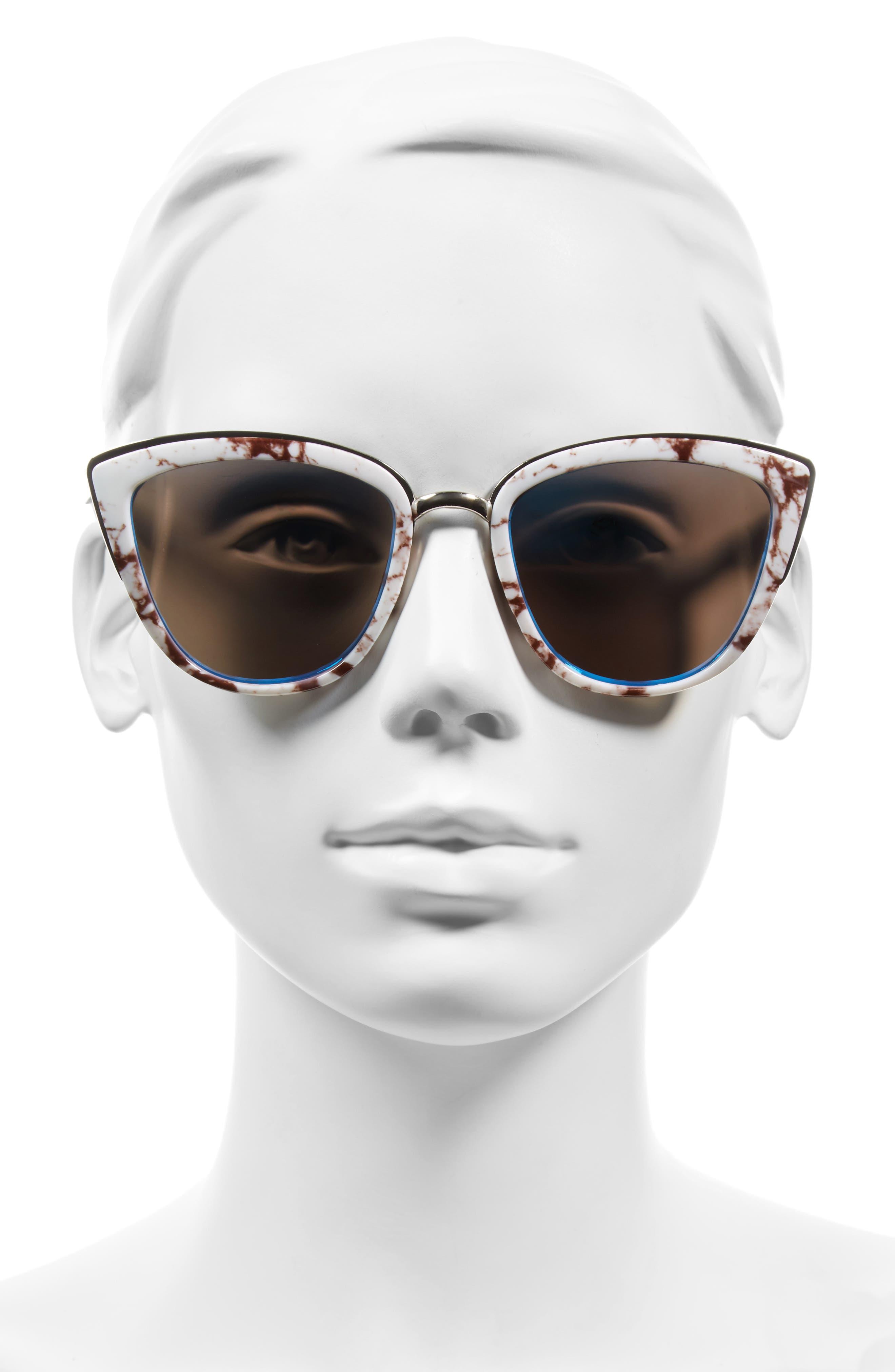 57mm Cat Eye Sunglasses,                             Alternate thumbnail 2, color,                             100