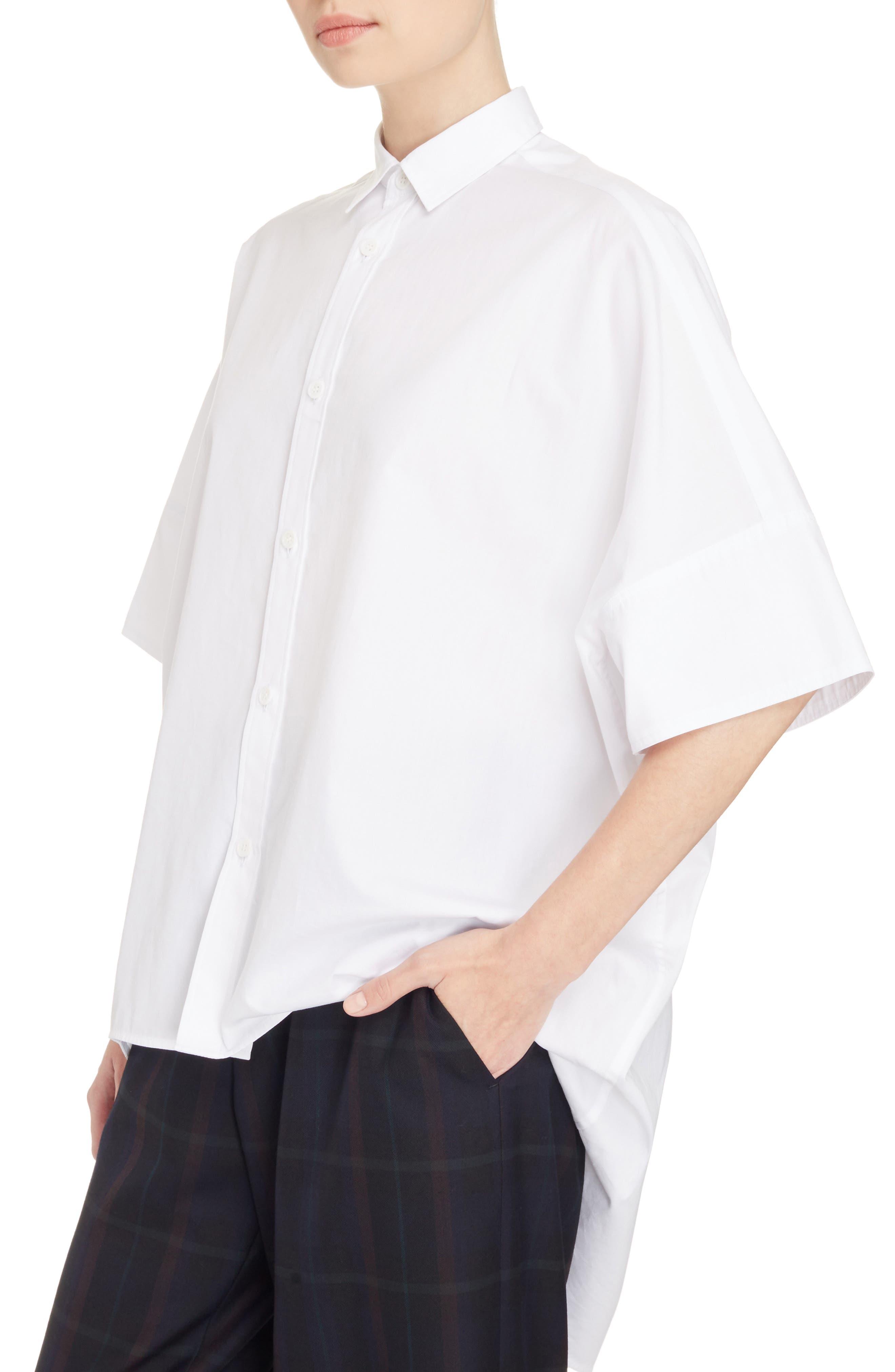 Oversize Drop Hem Shirt,                             Alternate thumbnail 4, color,                             100