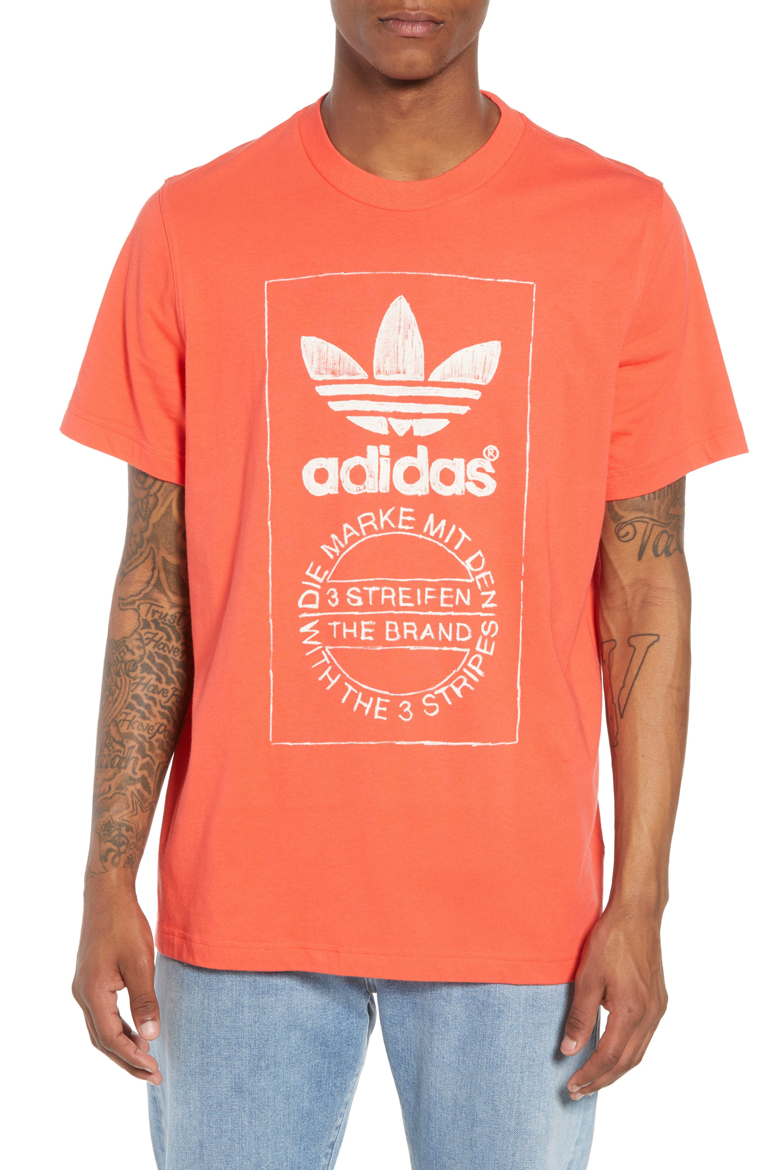 ADIDAS ORIGINALS,                             Hand Drawn Logo T-Shirt,                             Main thumbnail 1, color,                             600