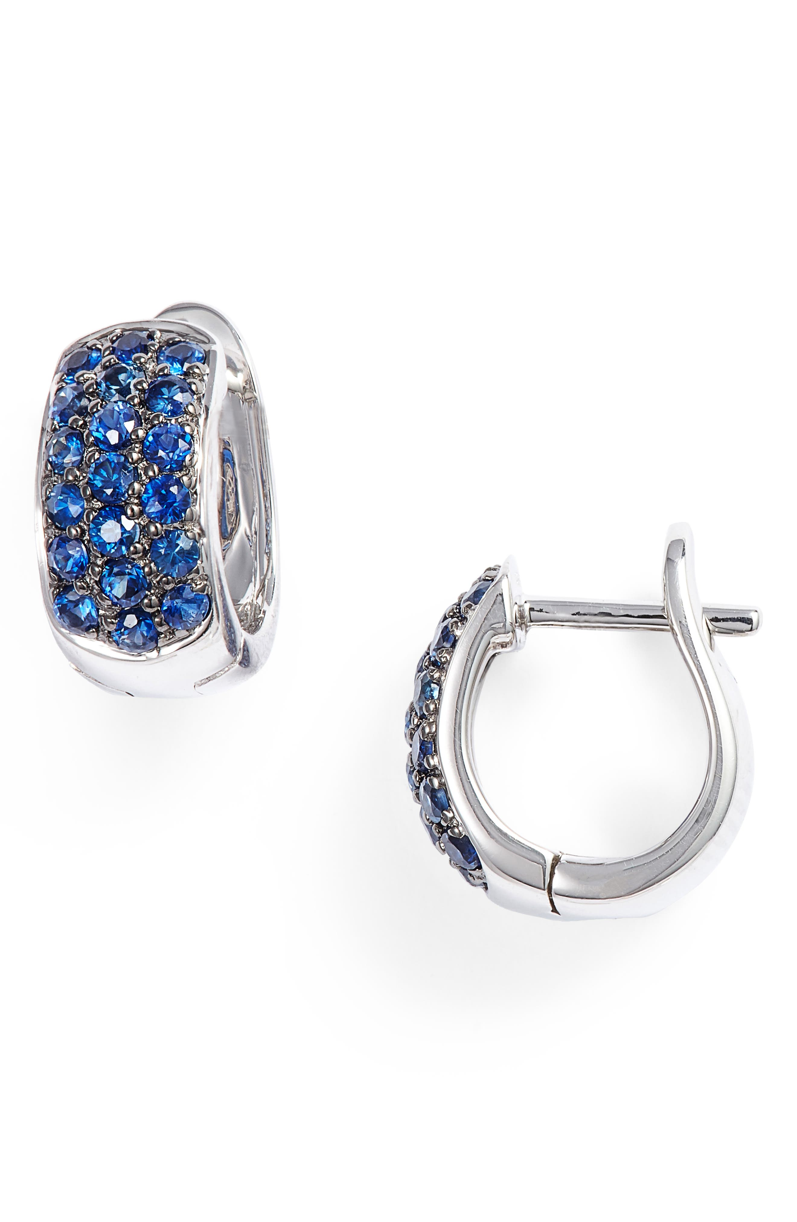 Wide Gem Huggie Earrings,                         Main,                         color, YELLOW GOLD/ BLUE SAPPHIRE