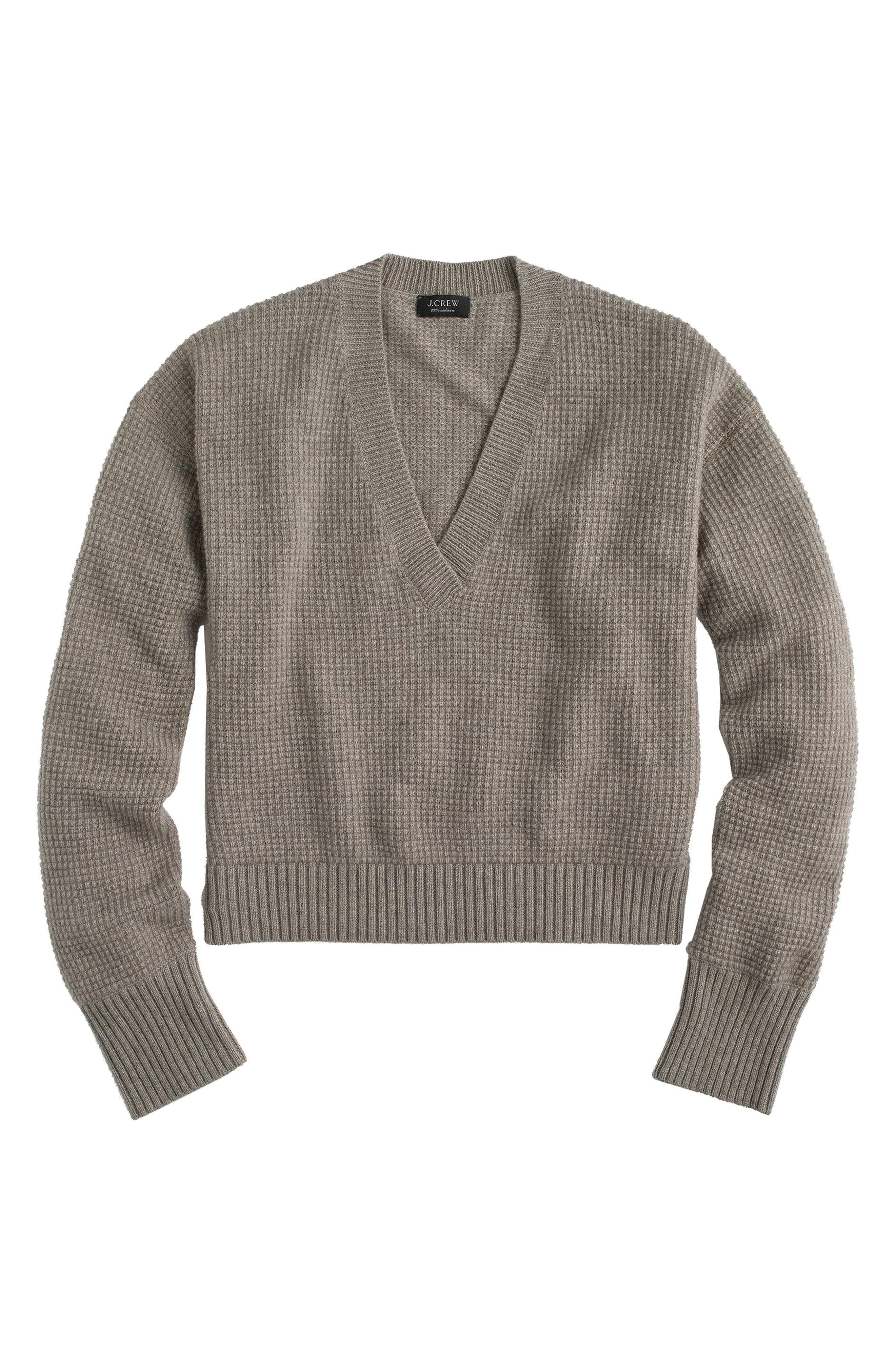 V-Neck Crop Thermal Cashmere Sweater,                             Main thumbnail 3, color,
