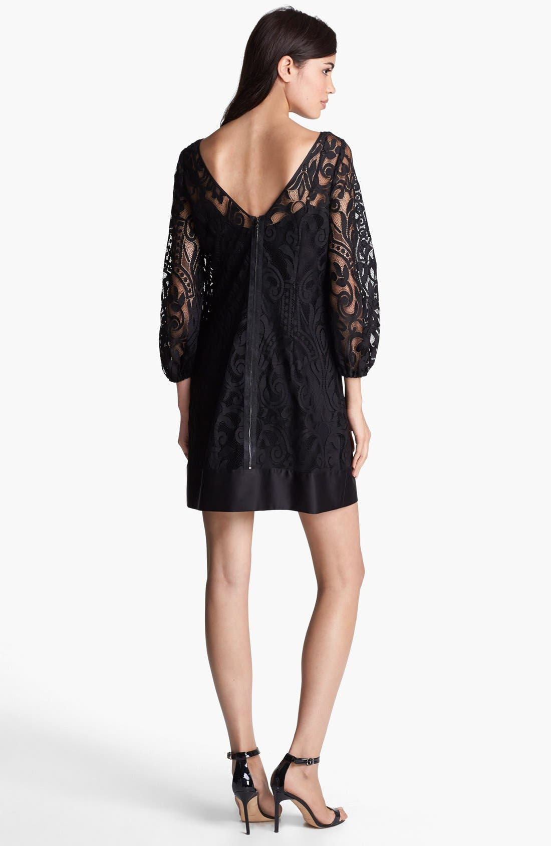 LAUNDRY BY SHELLI SEGAL,                             Blouson Sleeve Lace Dress,                             Alternate thumbnail 4, color,                             001