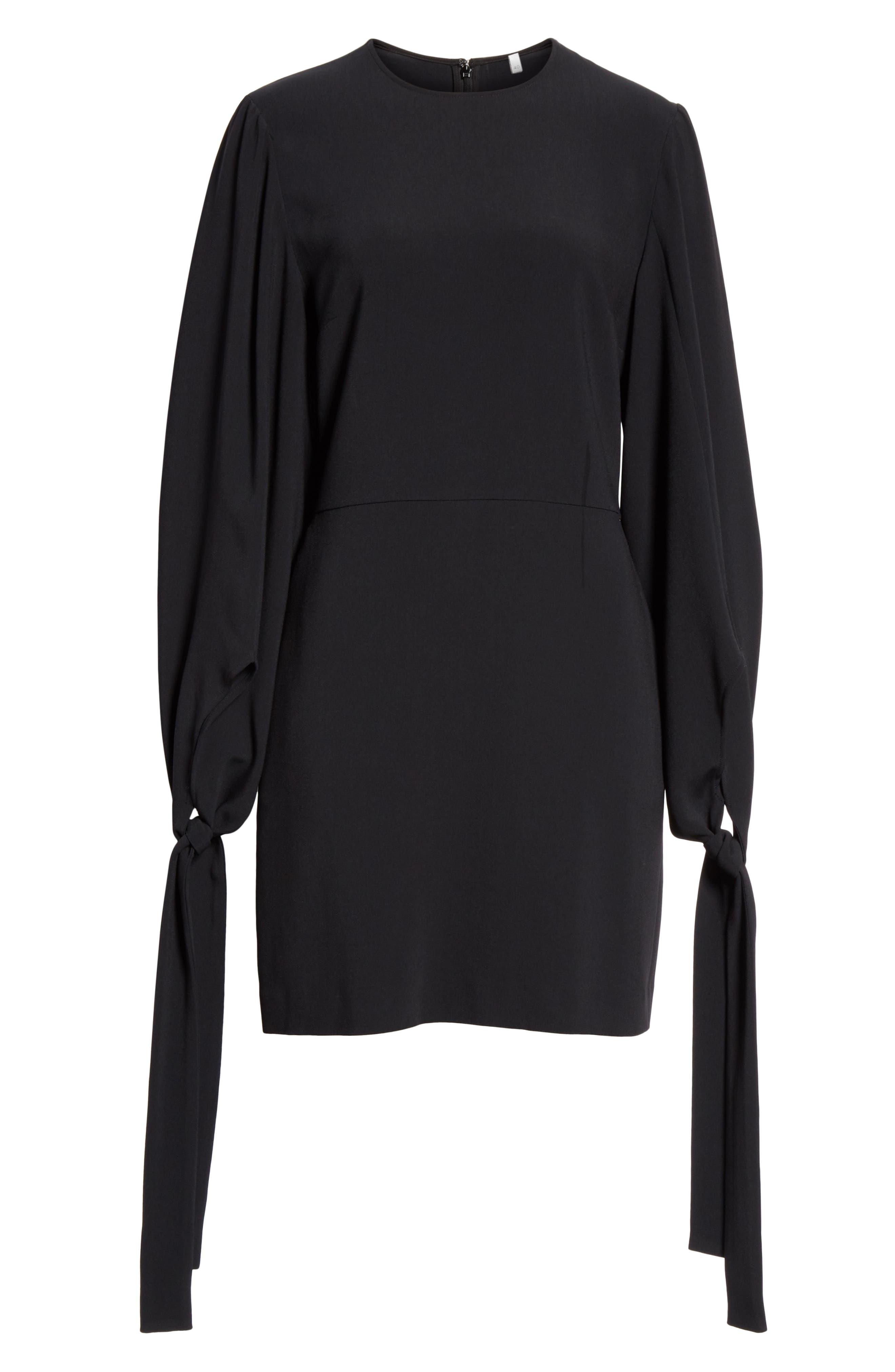 Tie Cuff Stretch Cady Dress,                             Alternate thumbnail 7, color,                             BLACK