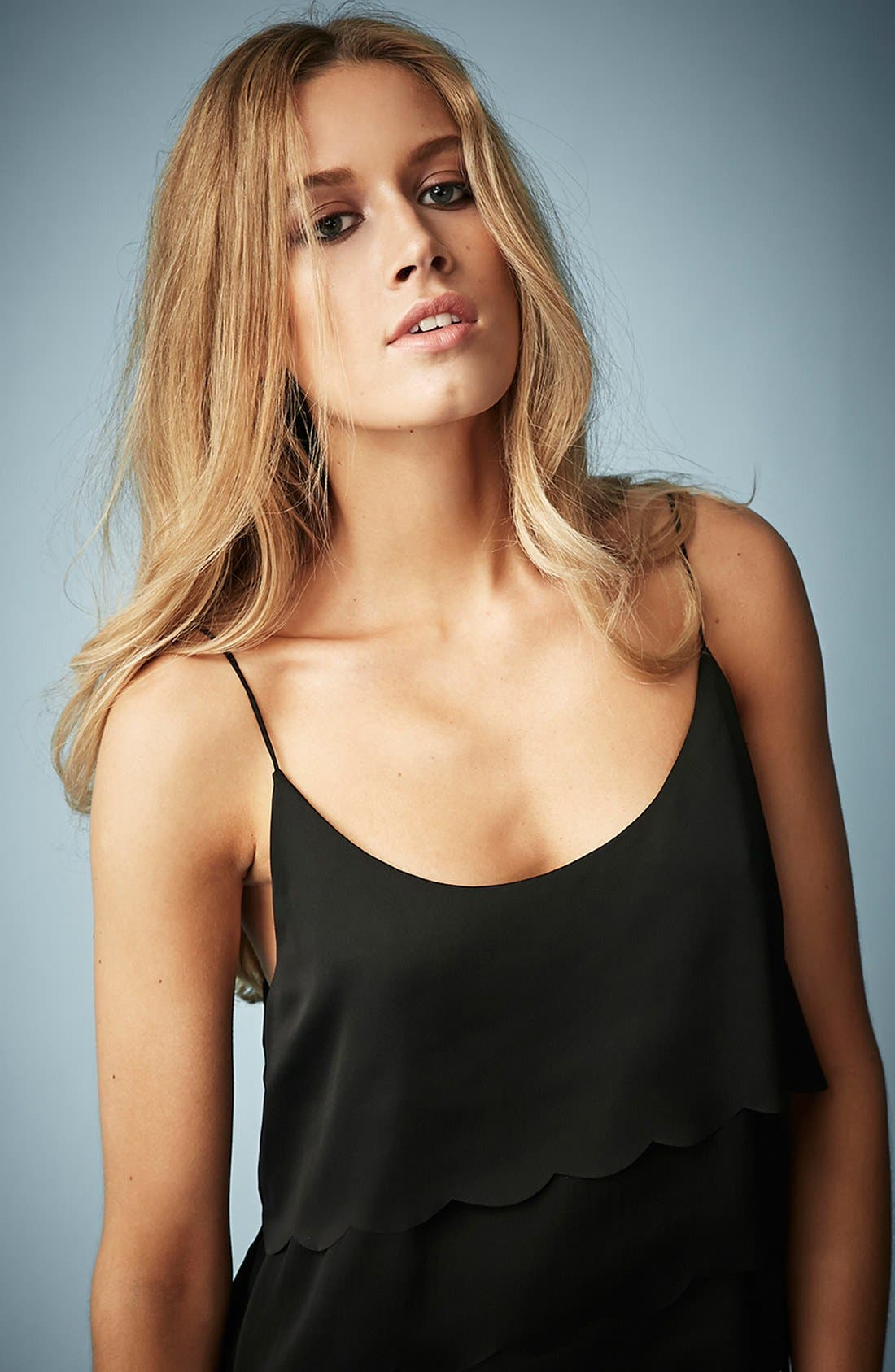 TOPSHOP,                             Kate Moss for Topshop Scalloped Camisole,                             Alternate thumbnail 4, color,                             001