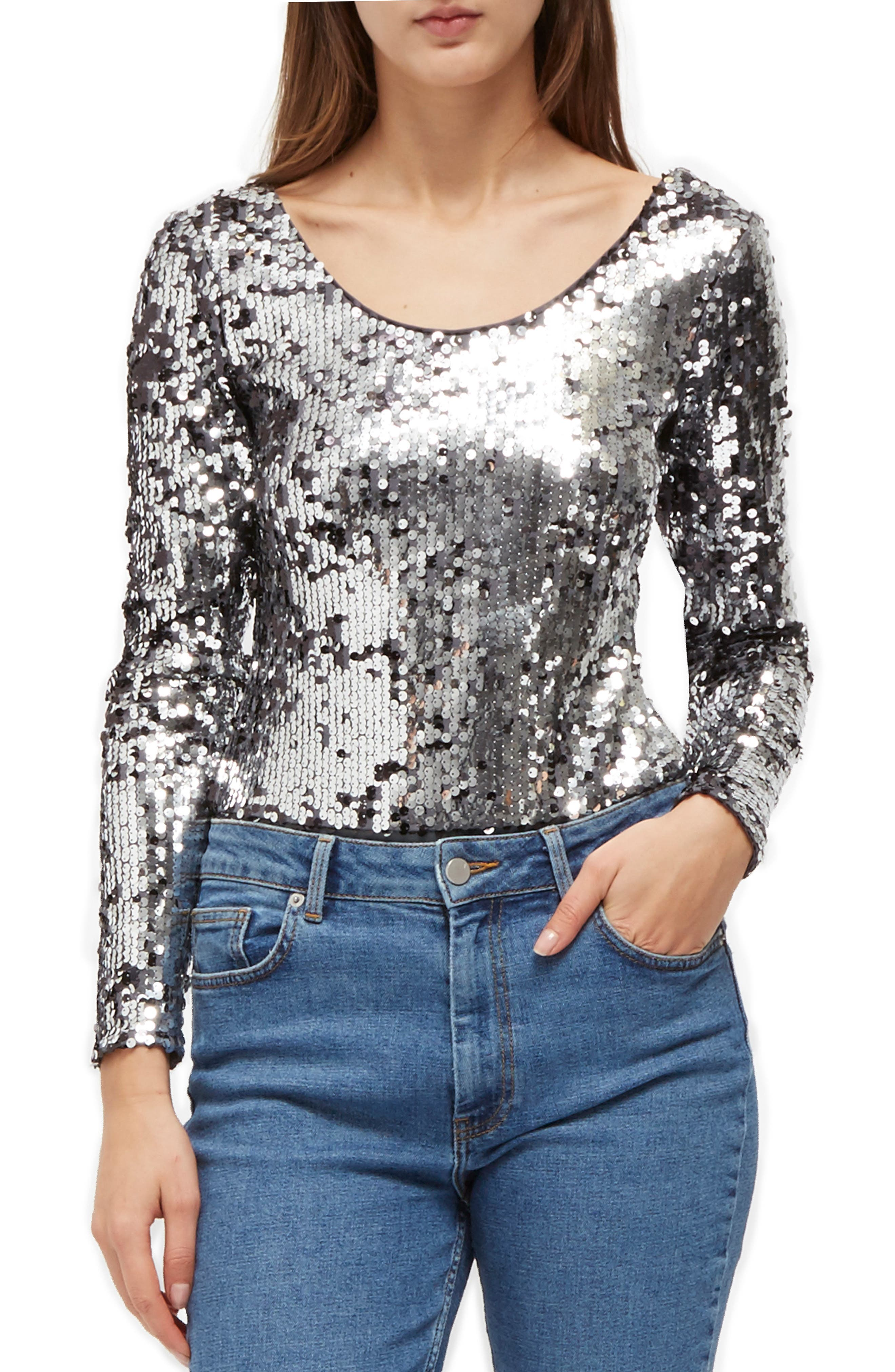 FRENCH CONNECTION Zena Sequin Top, Main, color, 020