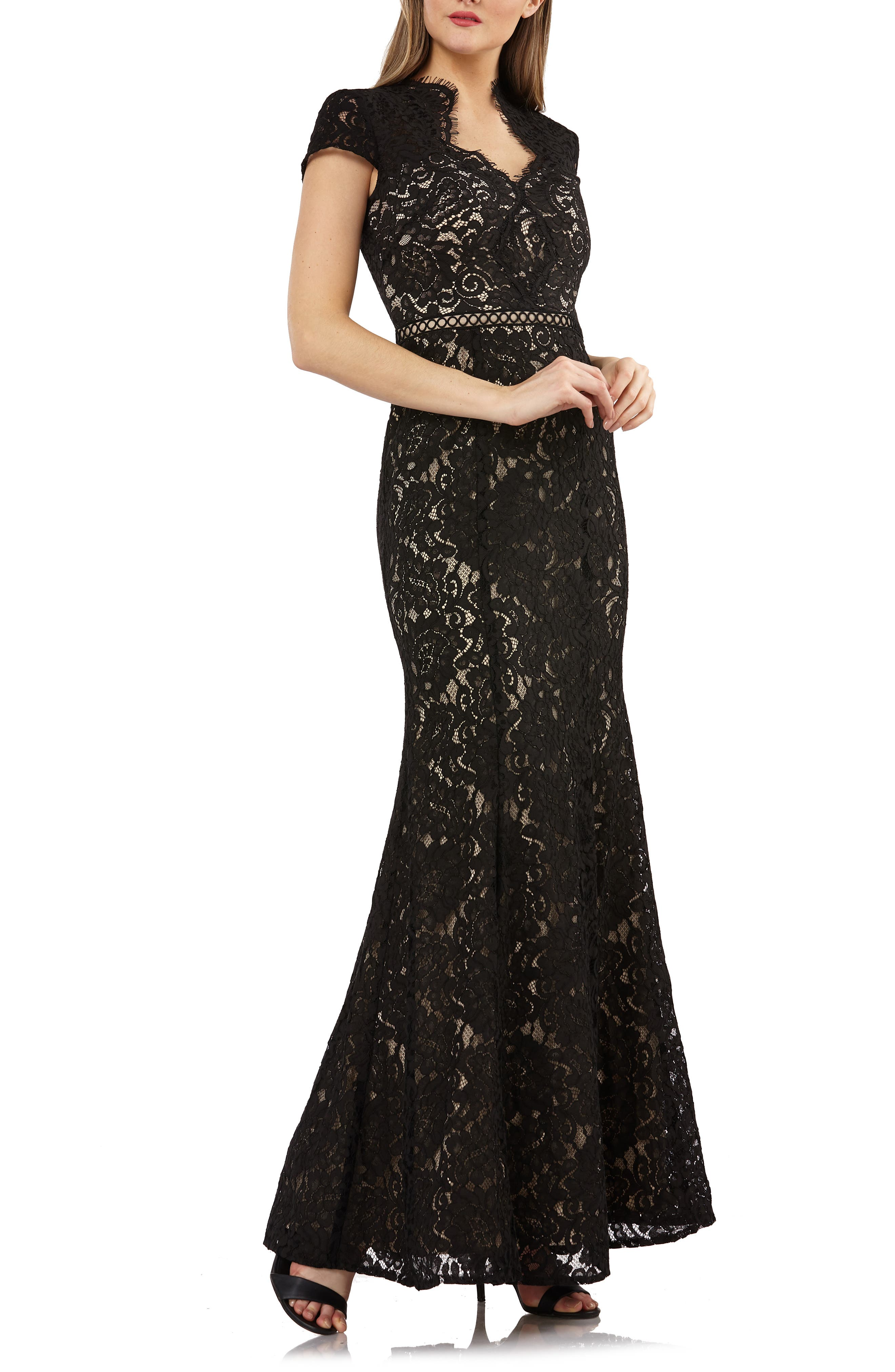 Js Collections Lace Mermaid Gown, Black