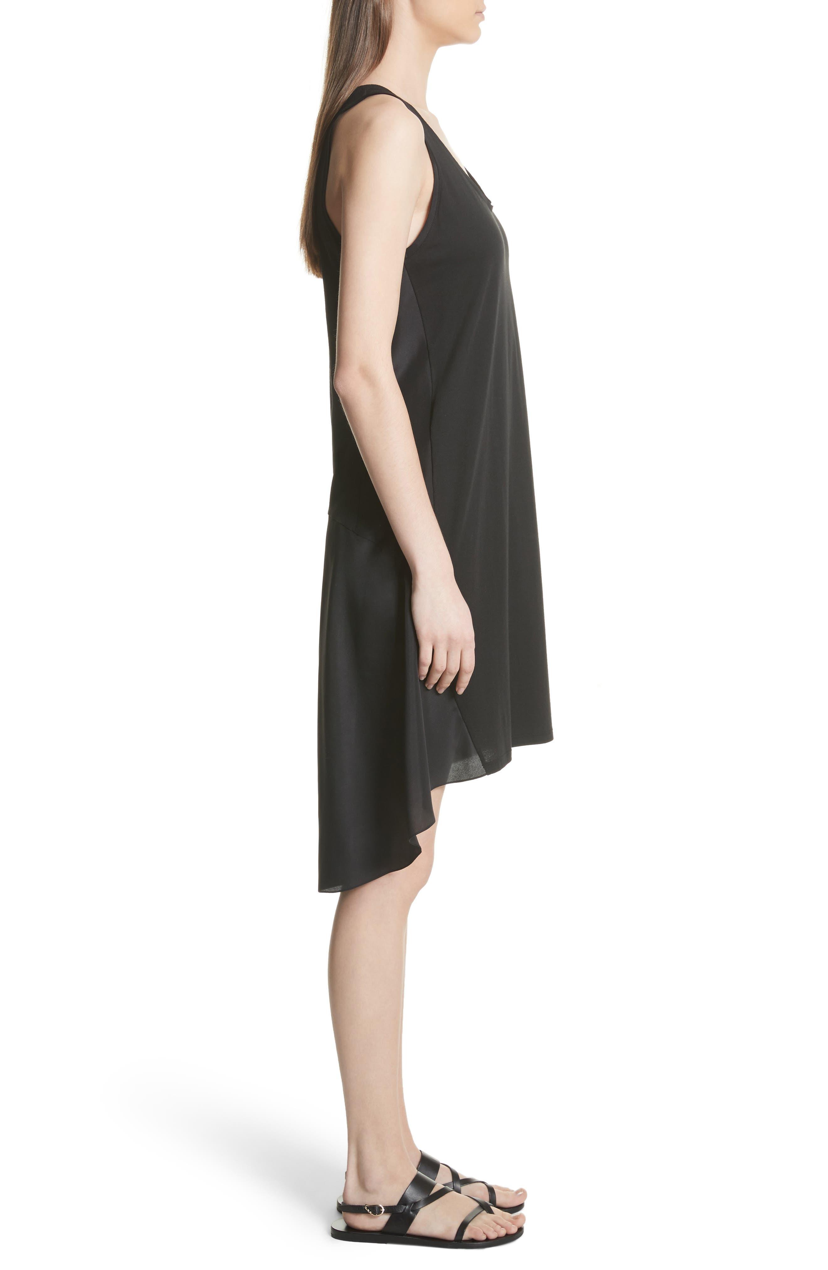 Plume Jersey Scoop Neck Swing Dress,                             Alternate thumbnail 3, color,                             001
