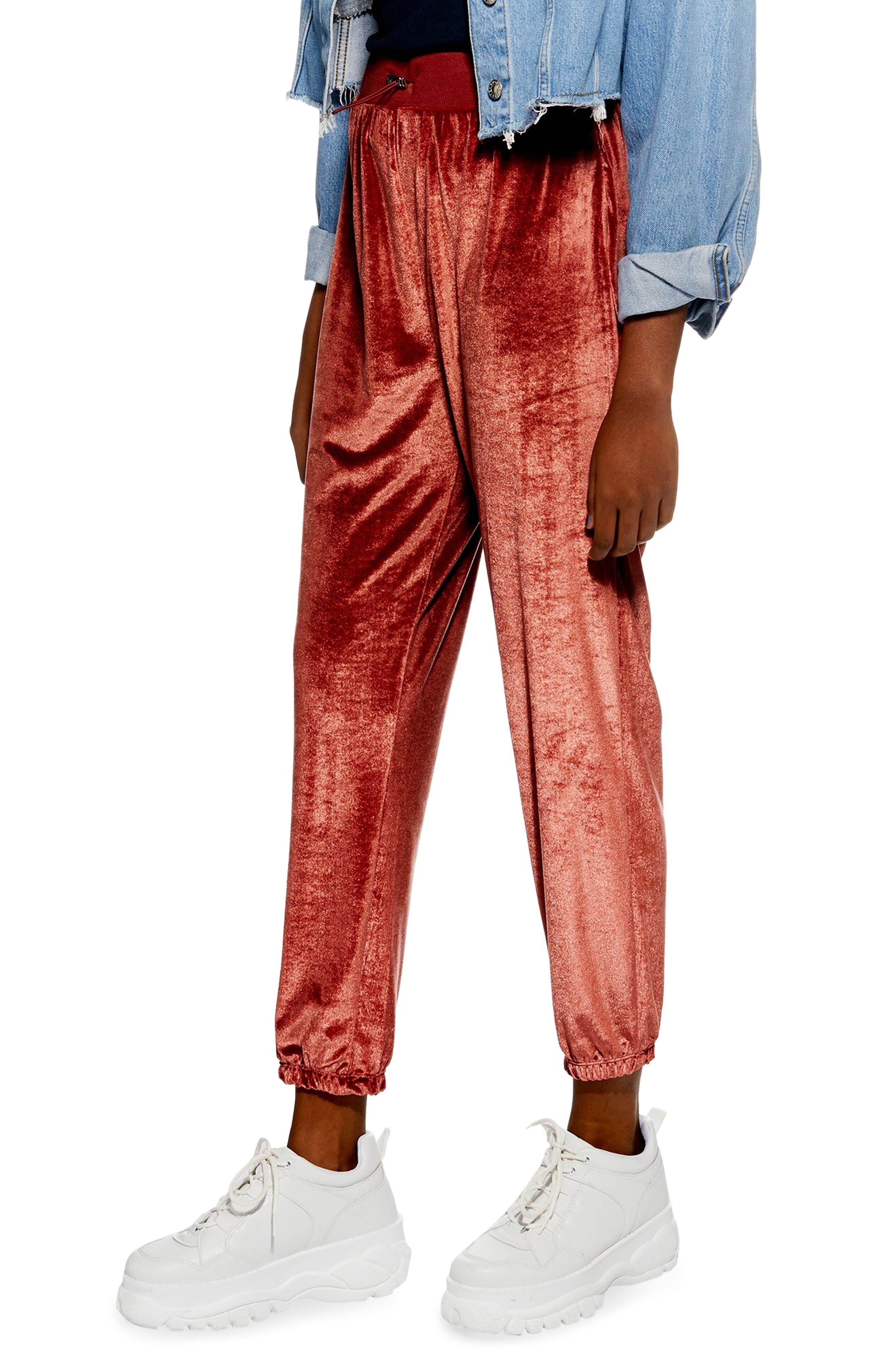 Velour Jogger Pants,                         Main,                         color, ROSE GOLD