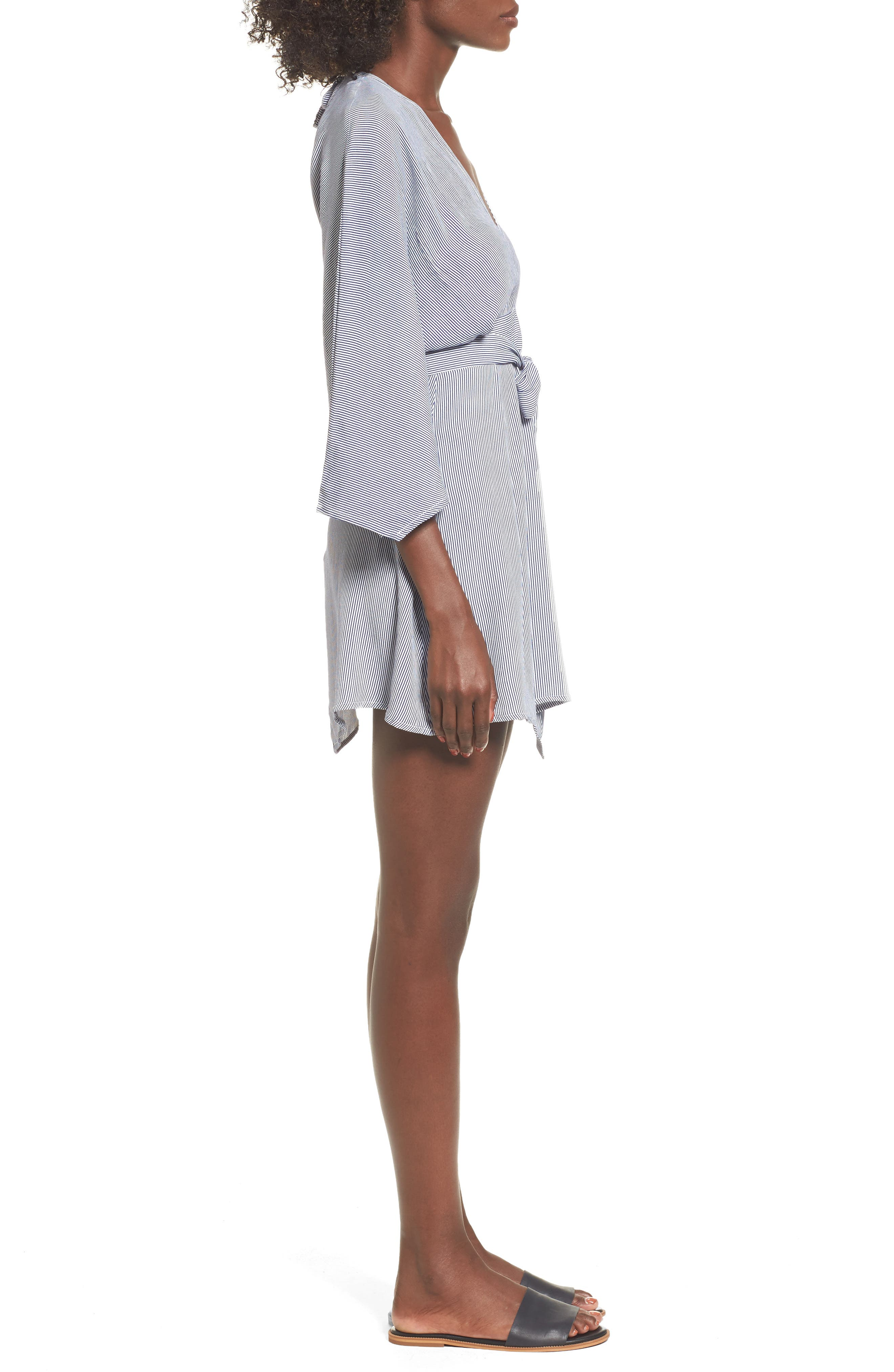 Nova Stripe Lace-Up Shirtdress,                             Alternate thumbnail 3, color,                             400