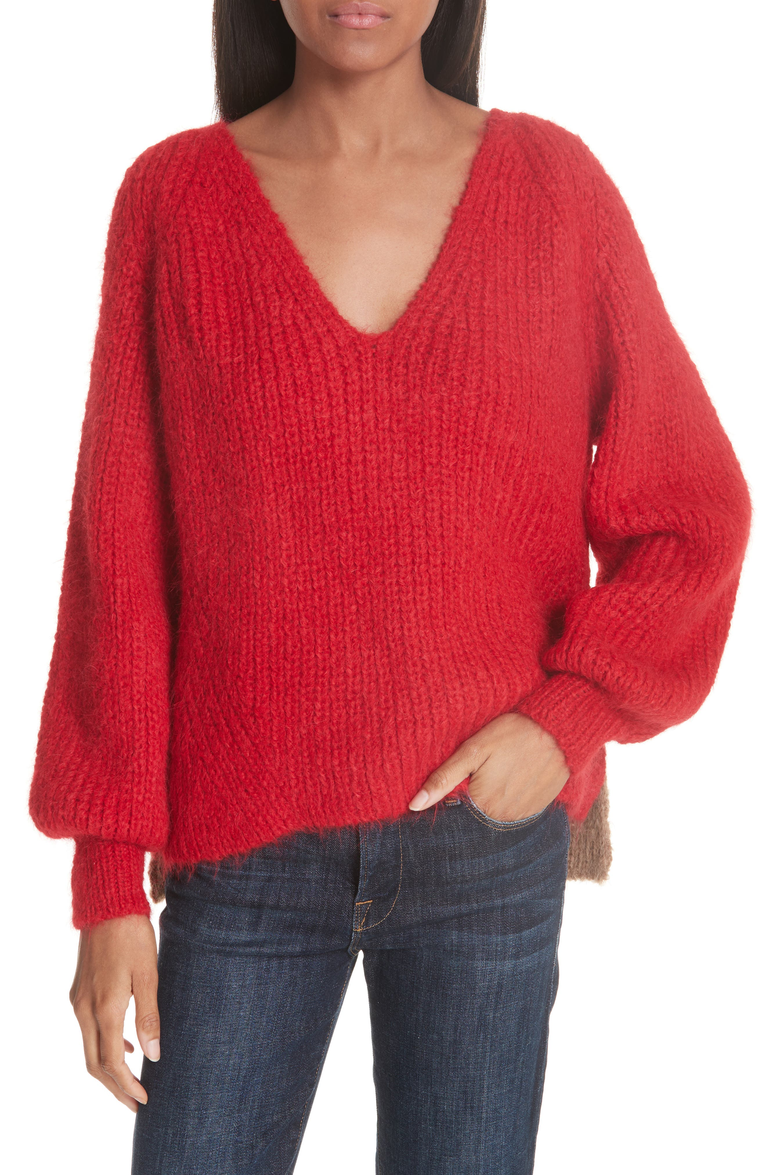 ELEVEN SIX Tess Alpaca Blend Sweater in Persimmon Red/ Vicuna Combo