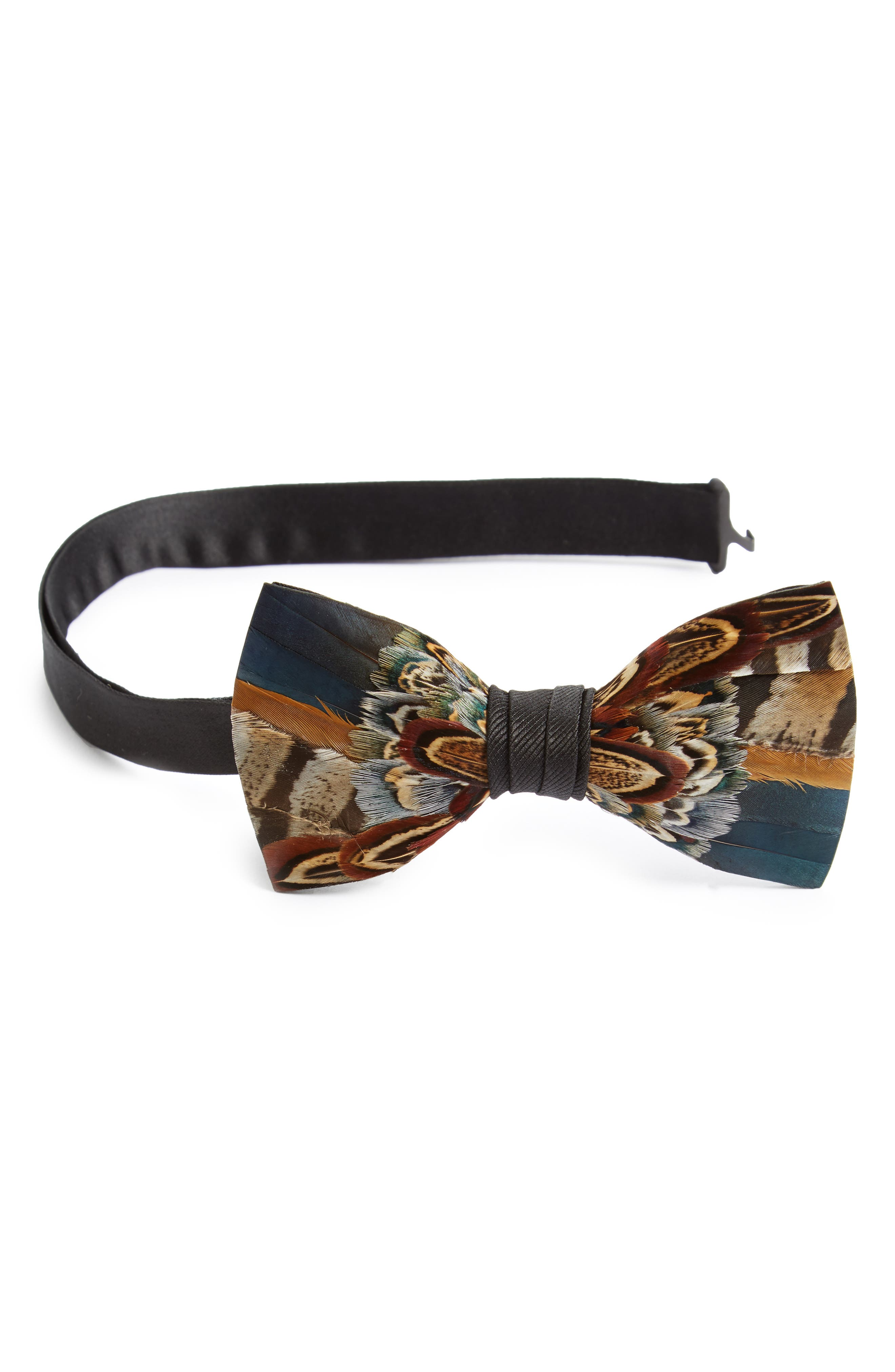 Pollock Feather Bow Tie,                         Main,                         color, BLUE/ BROWN