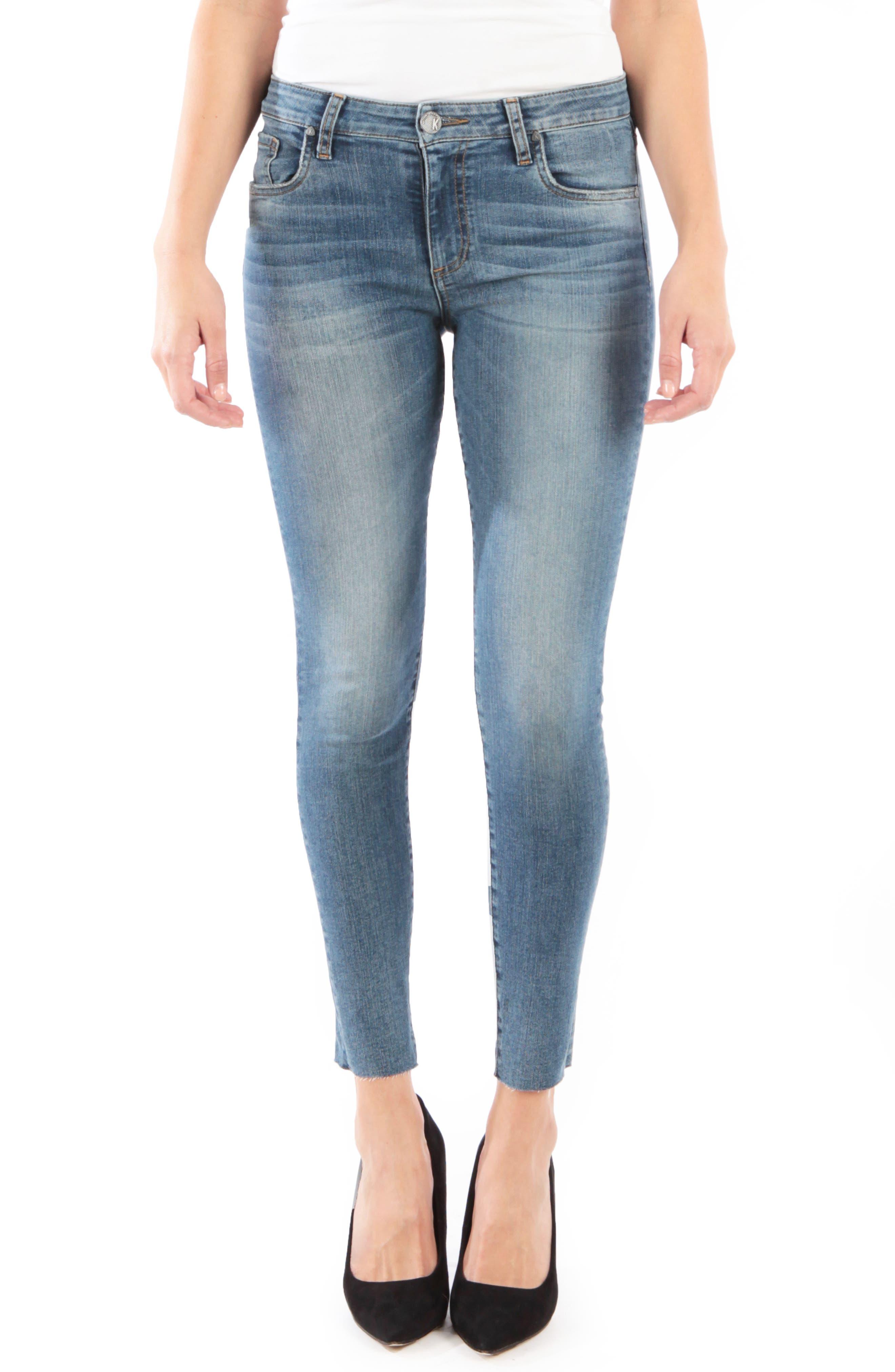 Petite Kut From The Kloth Donna High Waist Raw Hem Skinny Jeans, Blue
