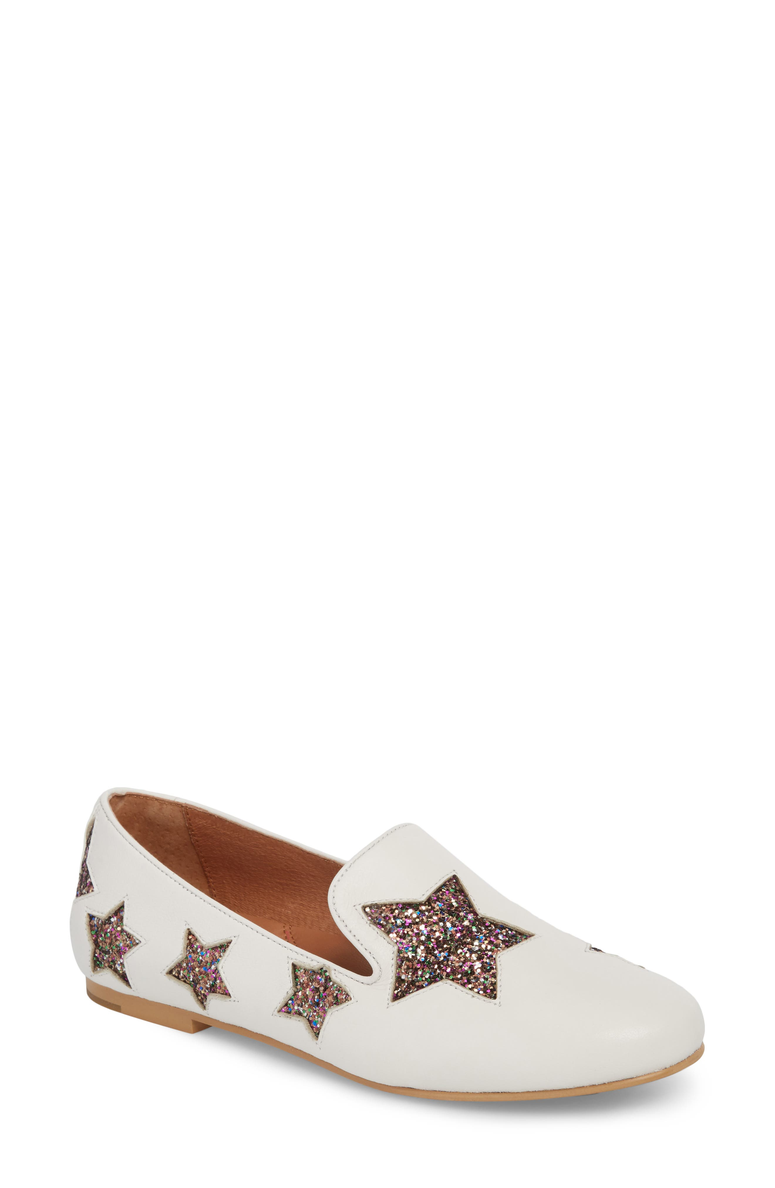 Eugene Stars Flat,                             Main thumbnail 1, color,                             WHITE STARS LEATHER