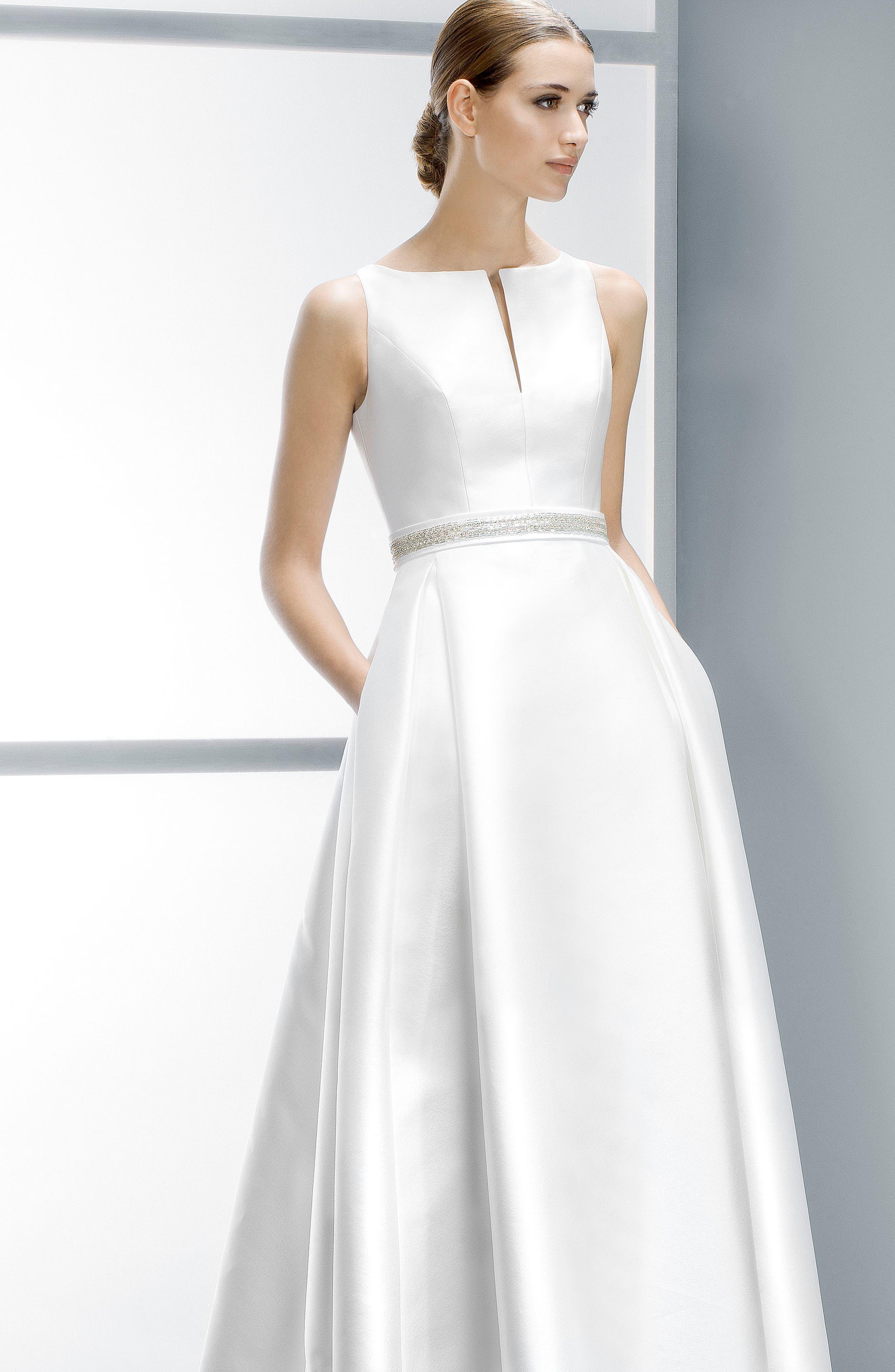 Embellished Waist Mikado A-Line Dress,                             Alternate thumbnail 8, color,                             IVORY